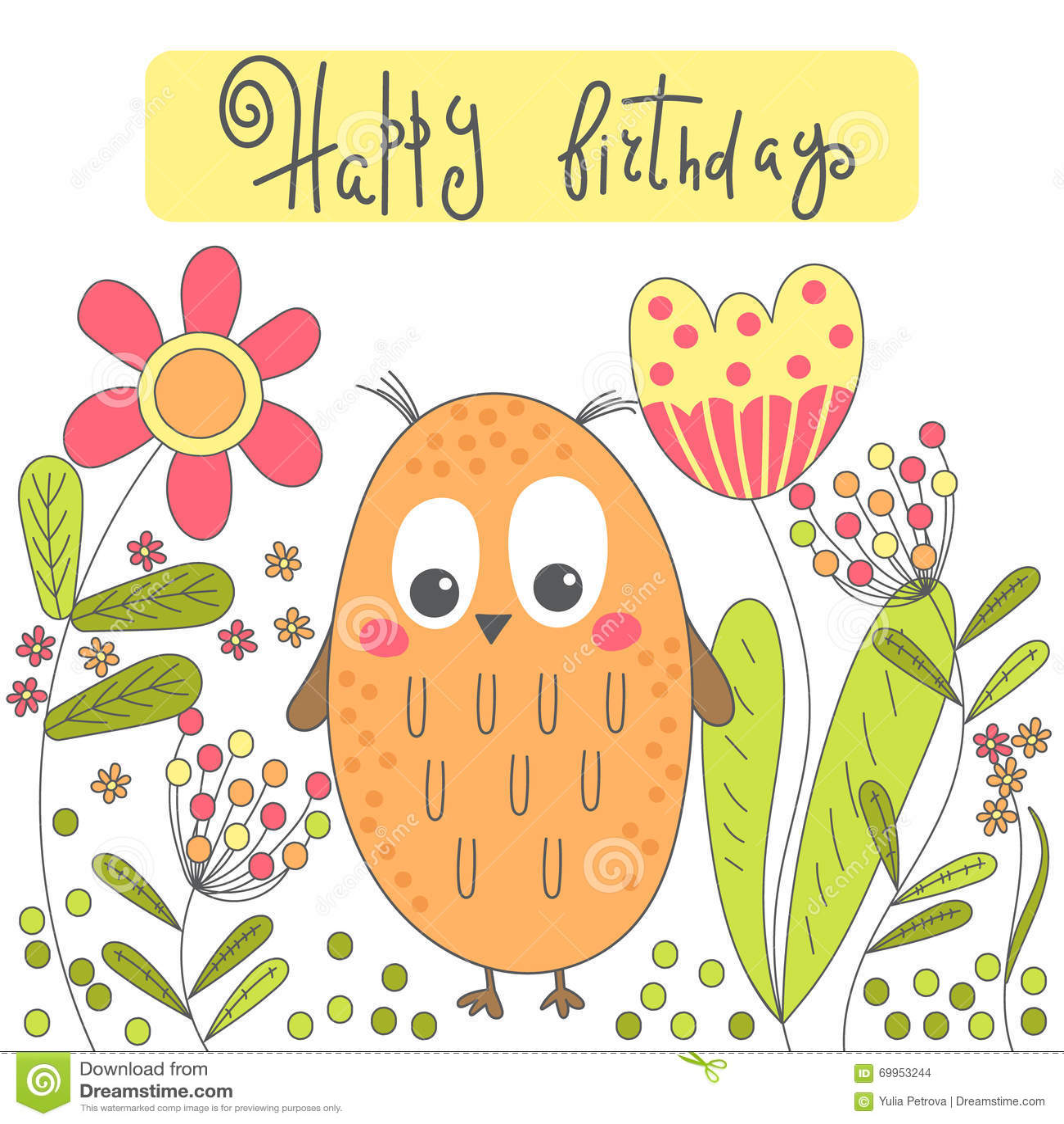 Birthday Card With Cartoon Owl And Flowers Stock Vector