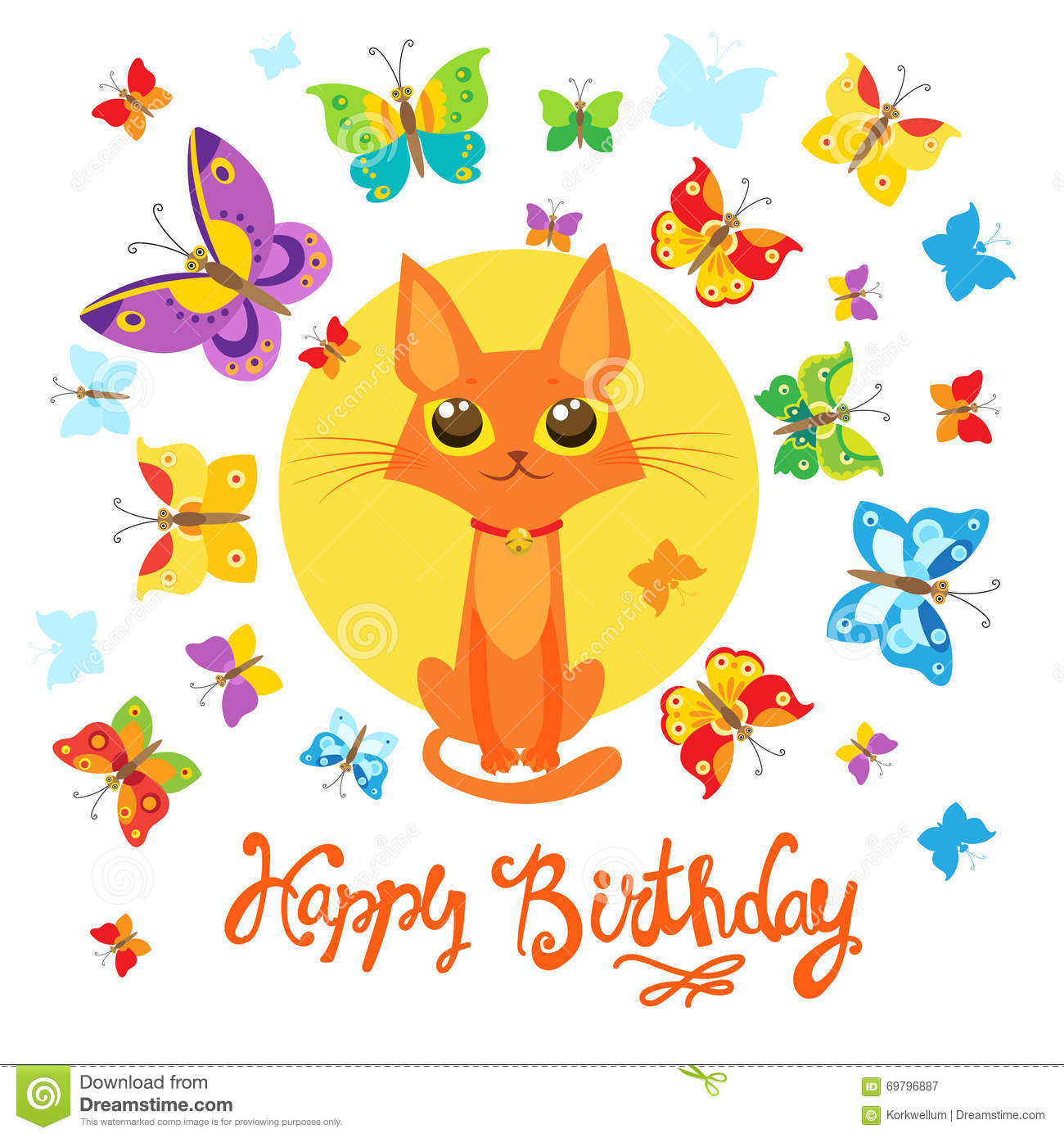 Birthday Card With Cat And Butterfly Greeting Sweet Childish Lovely