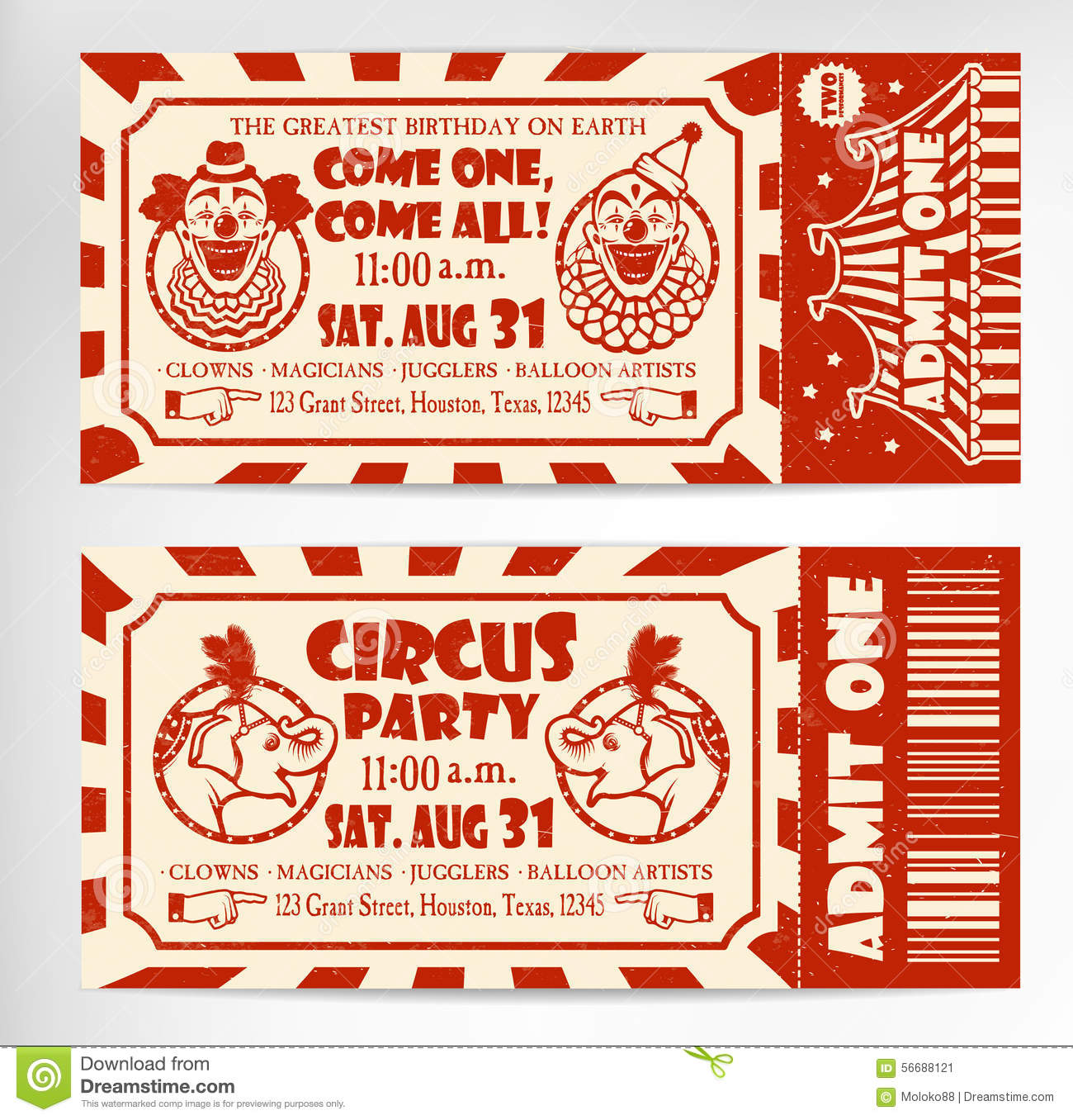 Birthday Card With Circus Ticket Stock Vector - Image: 56688121