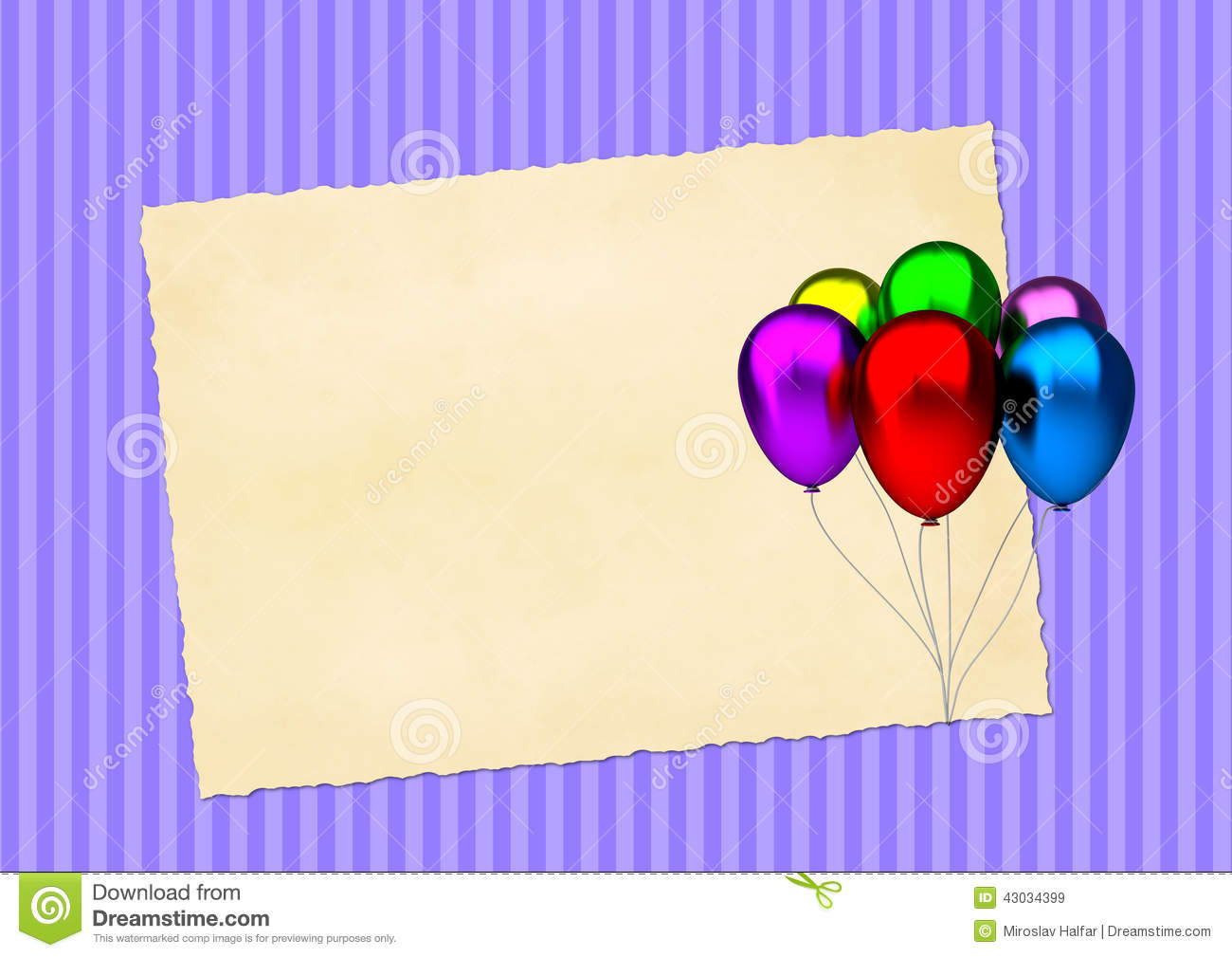birthday card with colorful party balloons and blank vintage paper