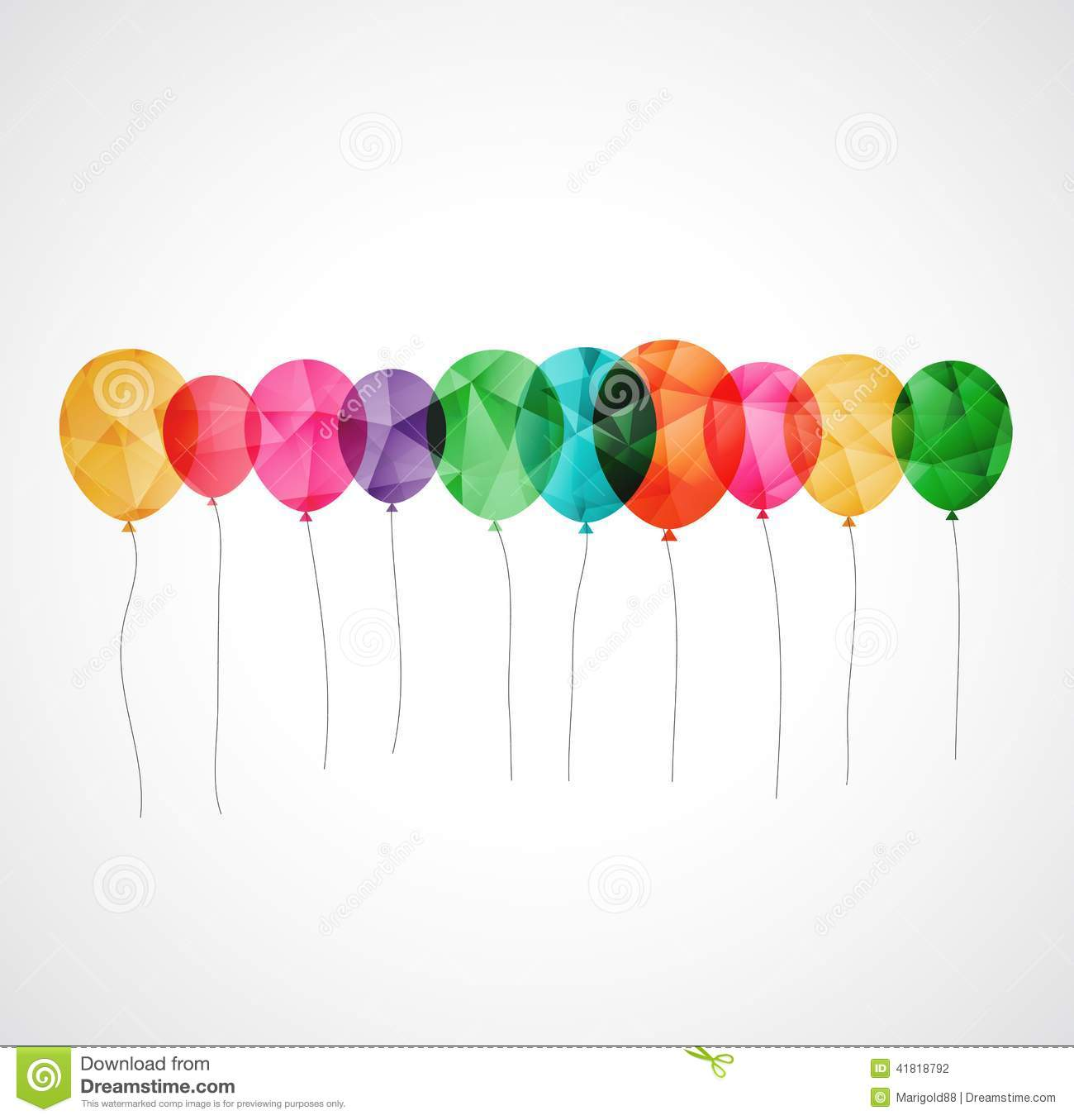 Birthday Card With Colorful Transparent Balloons Vector – Birthday Cards Balloons