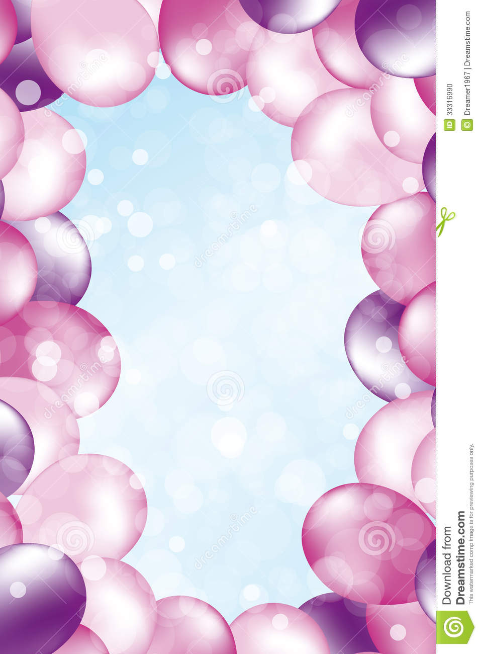 Birthday Balloons Border Landscape Birthday card with copy space