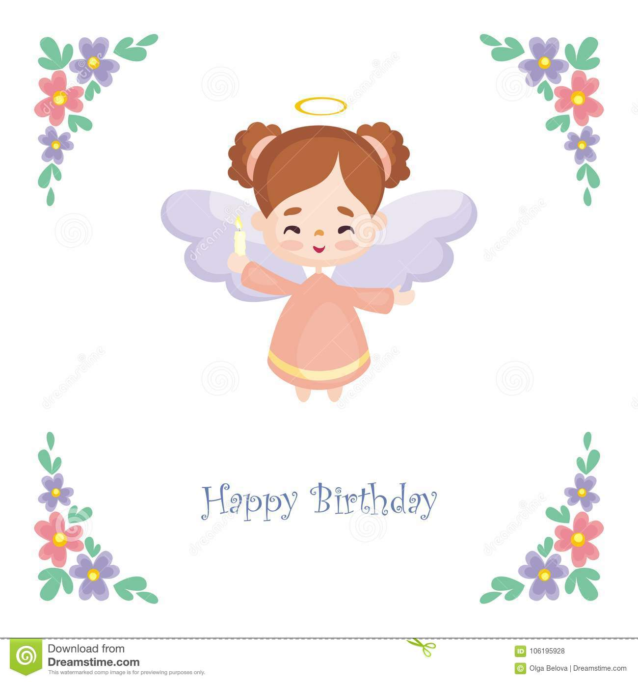 Birthday Card With Cute Angel Stock Vector Illustration Of Girl