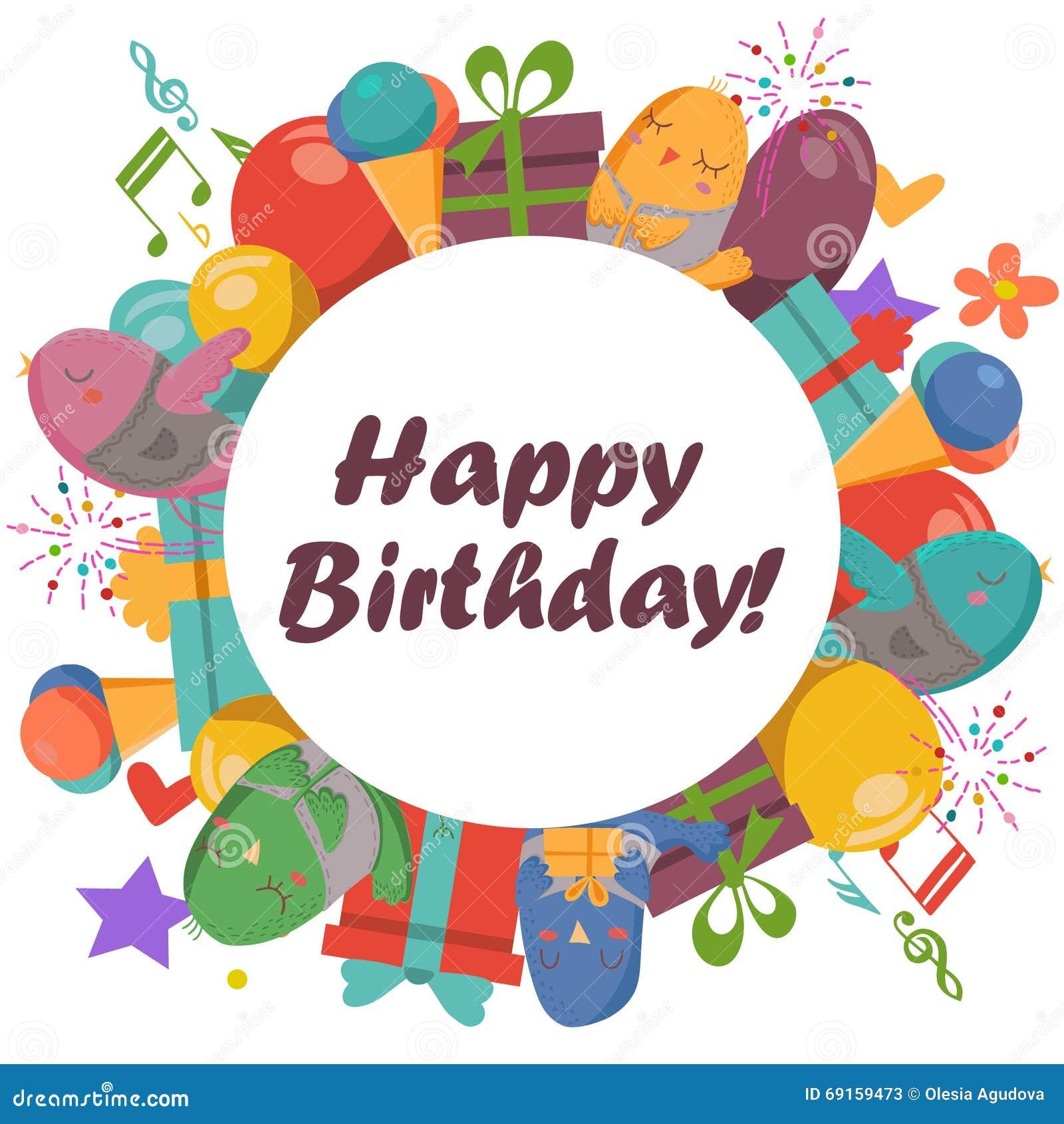Birthday card with cute birdsflowers and balloonsice cream gifts birthday card with cute birdsflowers and balloonsice cream gifts izmirmasajfo