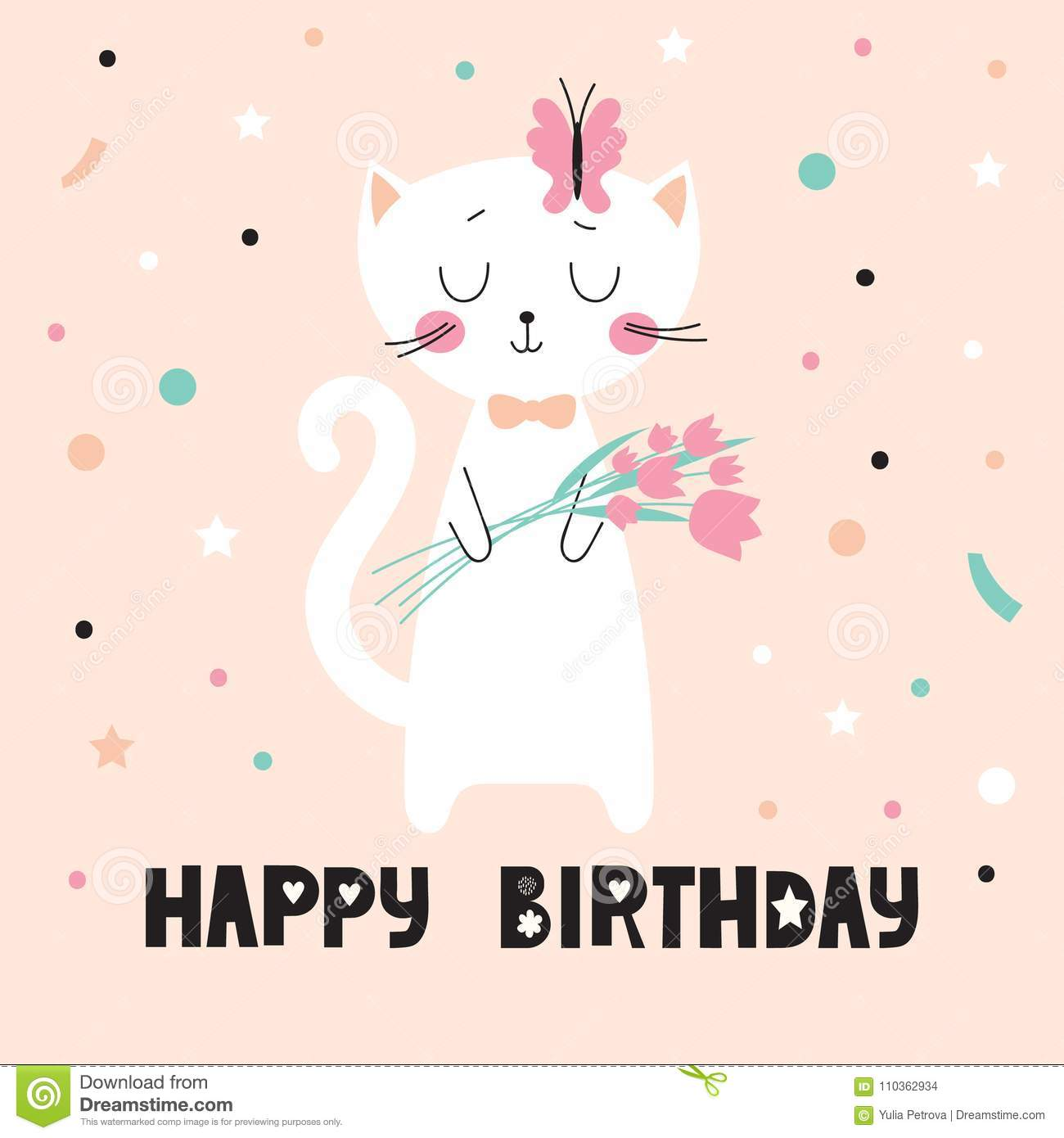 Birthday Card With Cute Cat Stock Vector