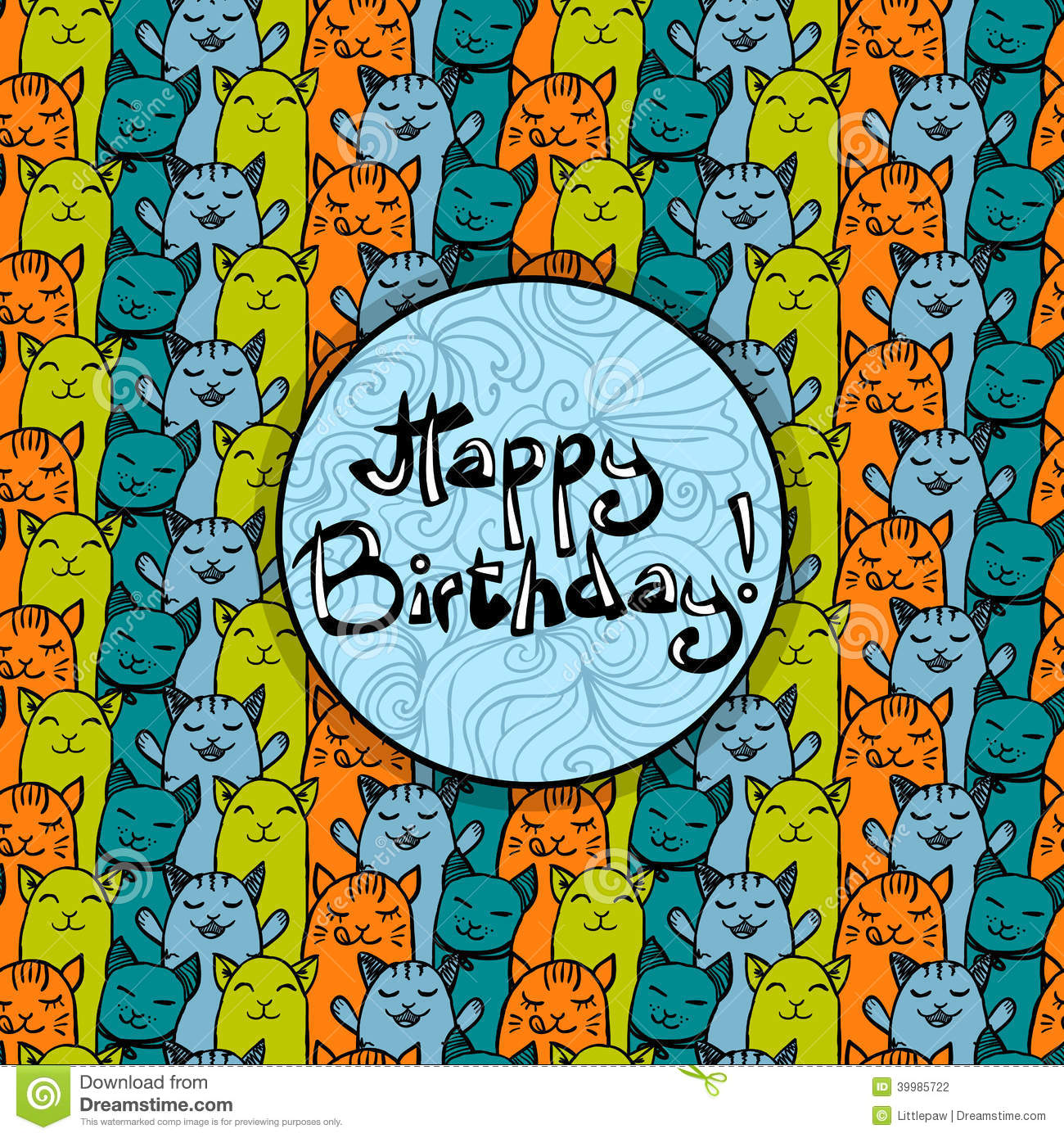 Happy Birthday Card With Cute Colorful Cats Background