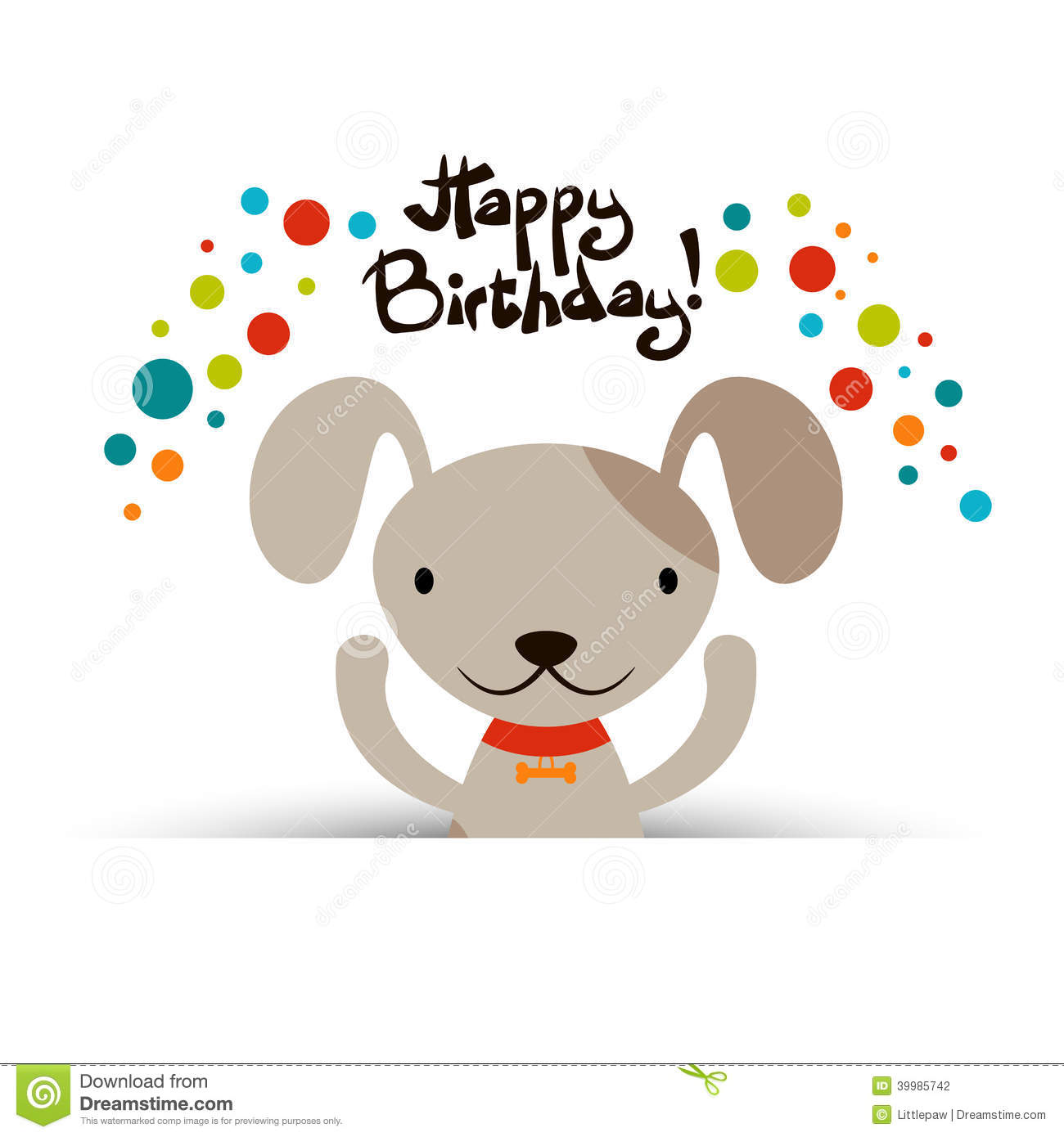 Birthday Card With Cute Dog Vector Image 39985742 – Birthday Card for Dog