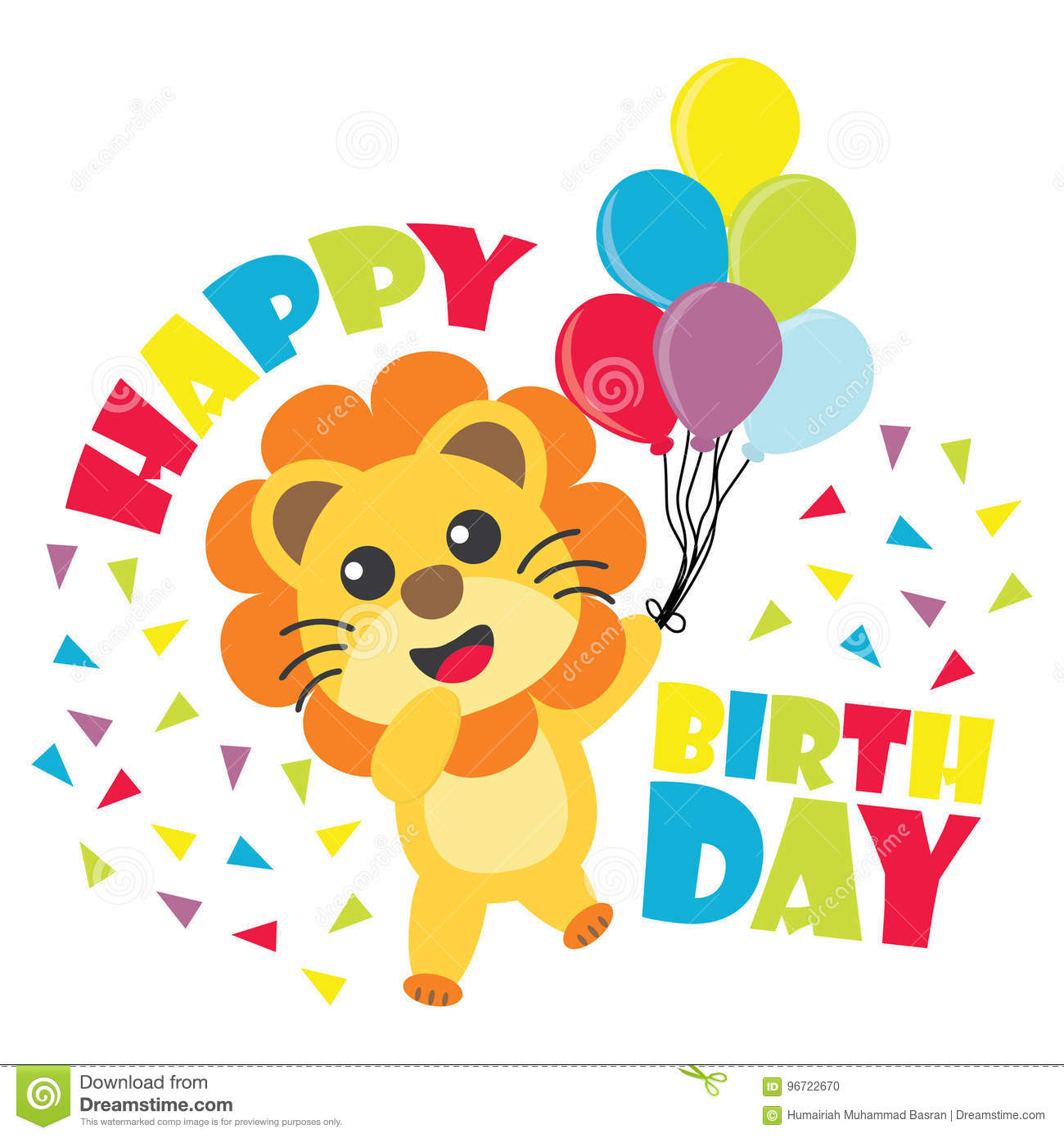 Birthday card with cute lion brings balloons cartoon illustration birthday card with cute lion brings balloons cartoon illustration for kid birthday invitation filmwisefo