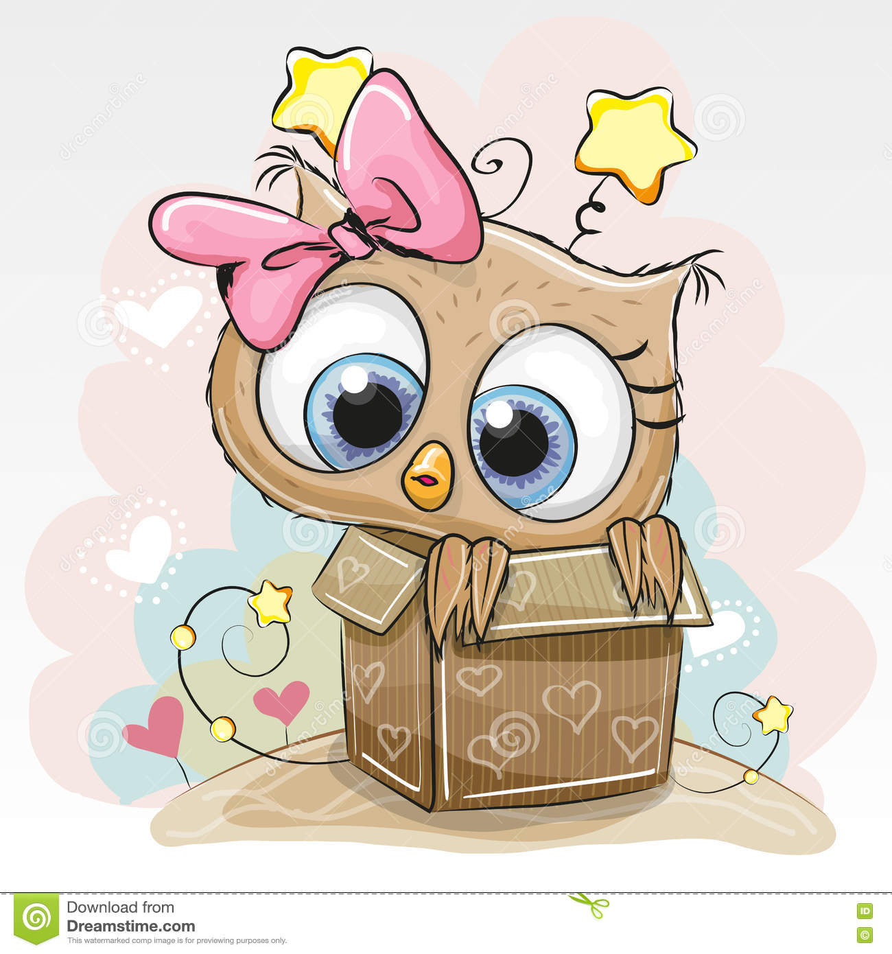 birthday card with cute owl stock vector  image, Birthday card