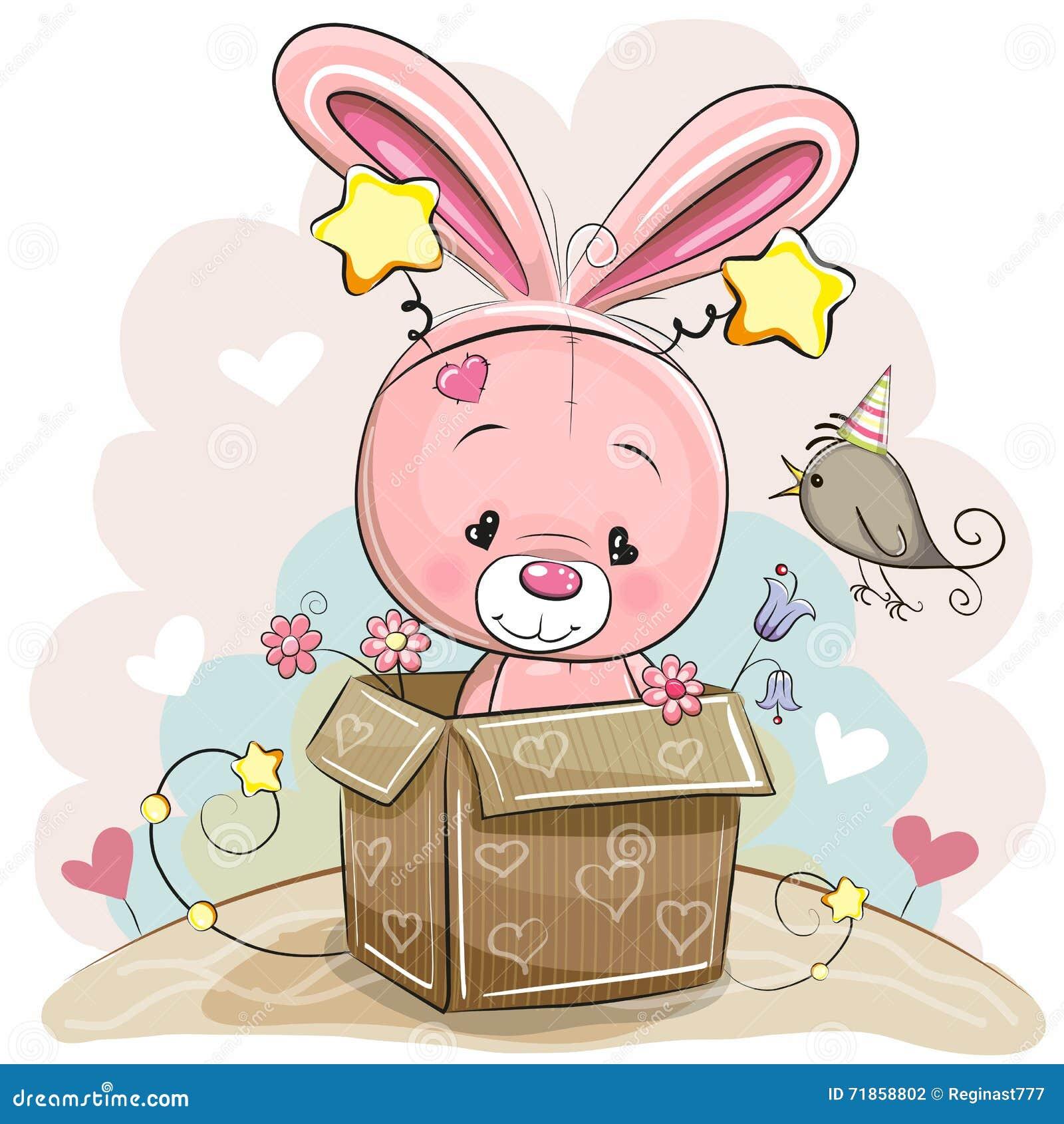 Birthday Card With Cute Rabbit