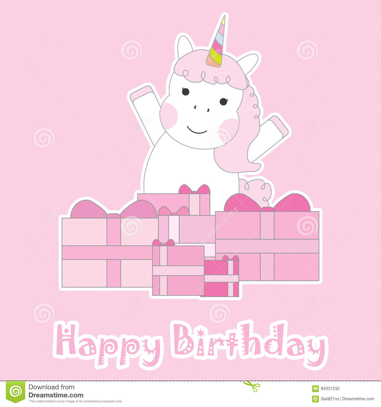 Birthday Card With Cute Unicorn Girl Gifts On Pink Background For Kid Invitation