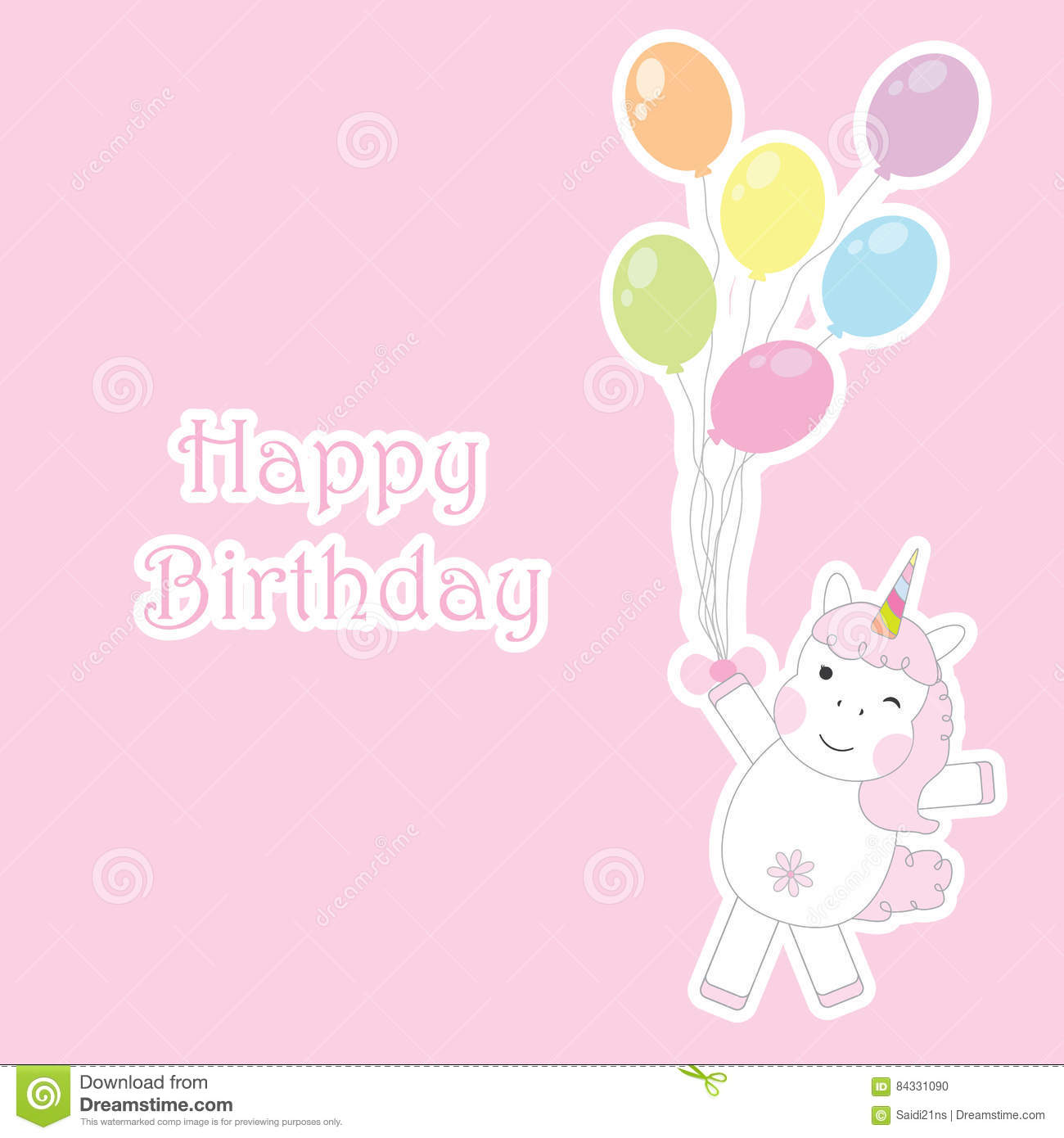 Birthday Card With Cute Unicorn Girl Brings Colorful Balloons On Pink Background For Kid Invitation
