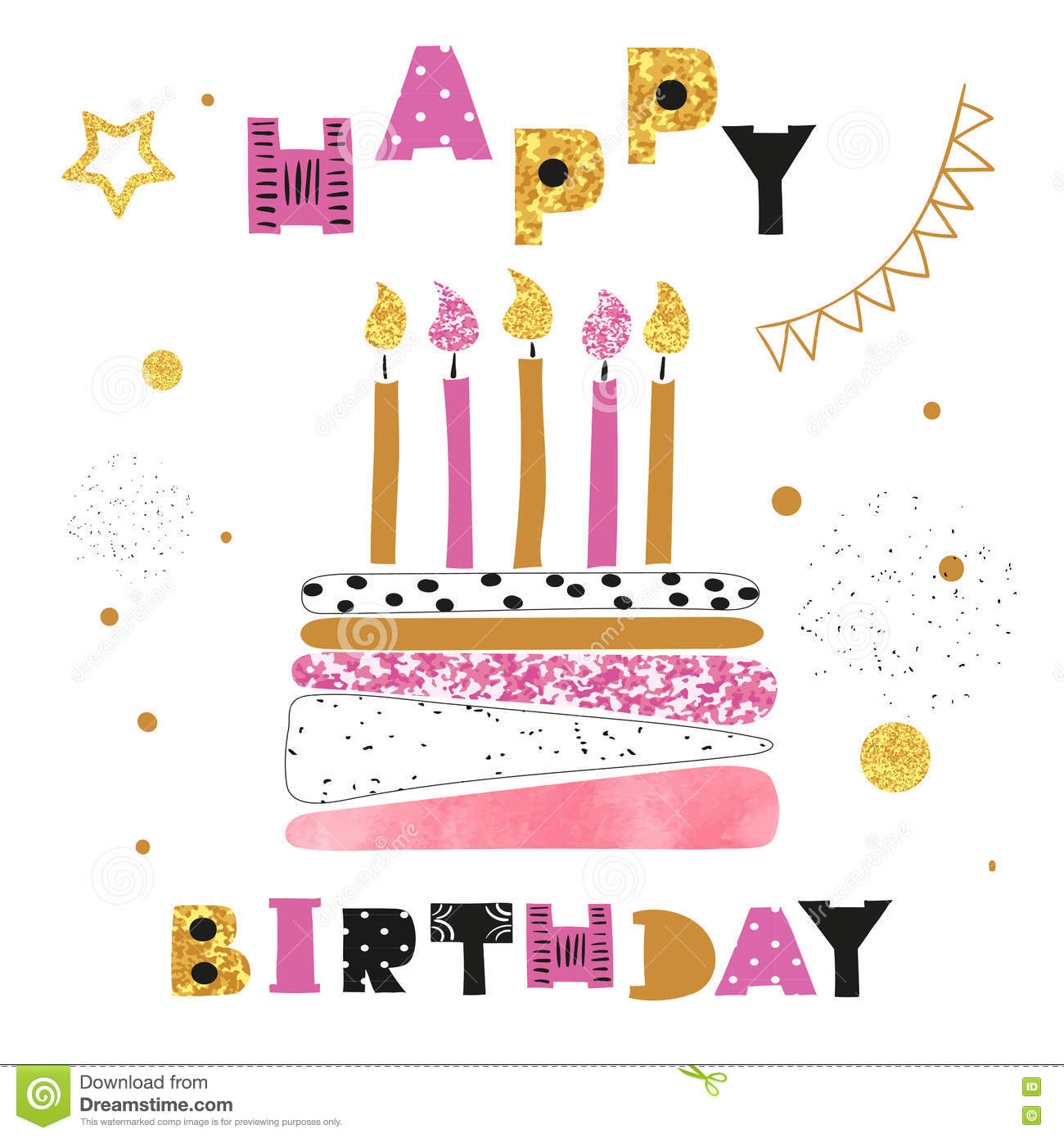 Birthday Card Design Birthday Cake With Candles Stock Vector