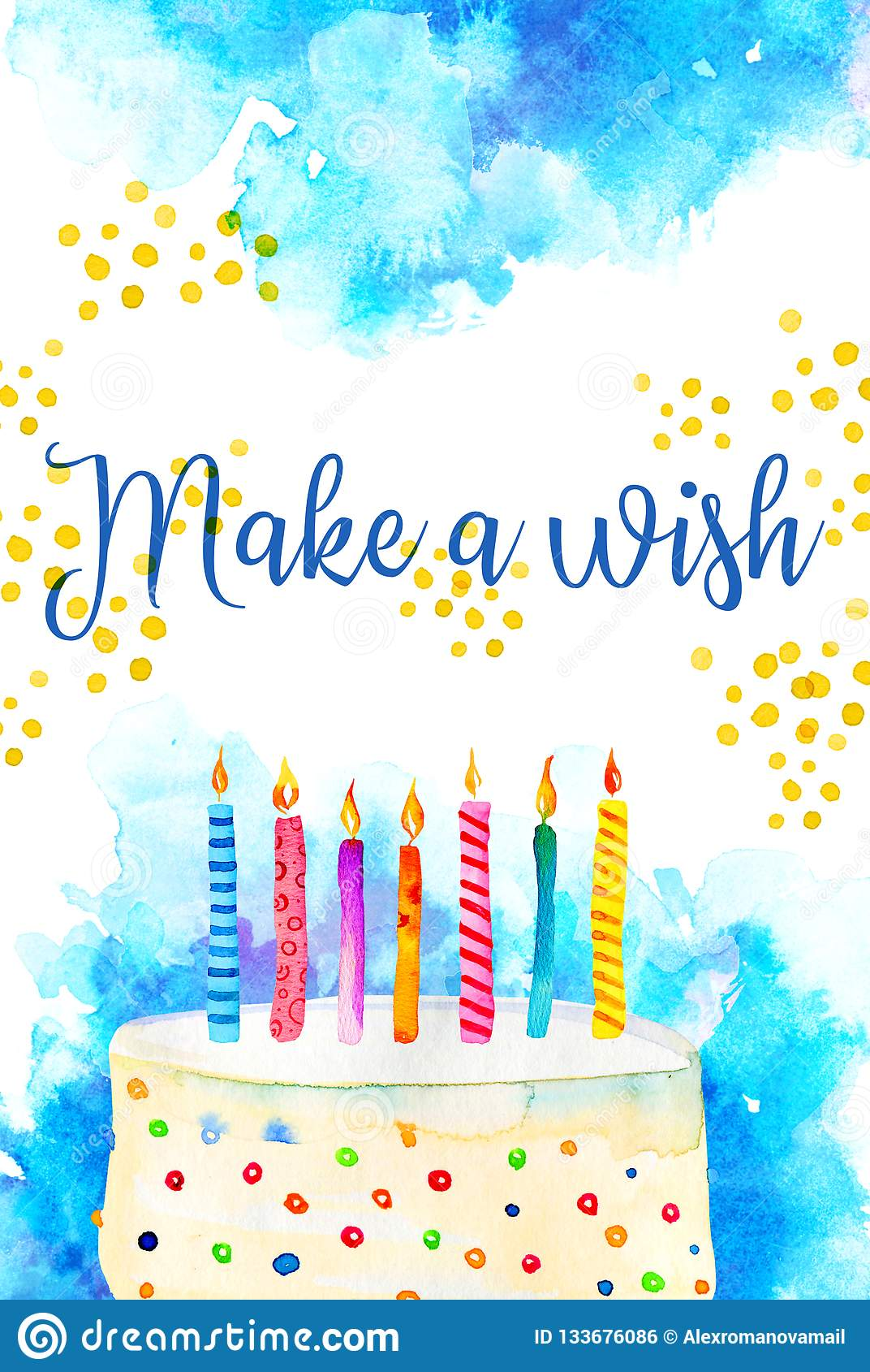 Birthday Card Design Template With Cake And Candles Greeting Make A Wish Hand Drawn