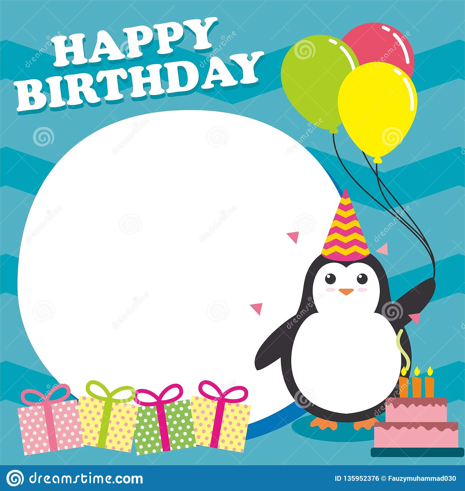 Fine Birthday Card Design Template With Cute Penguin Character Stock Personalised Birthday Cards Bromeletsinfo