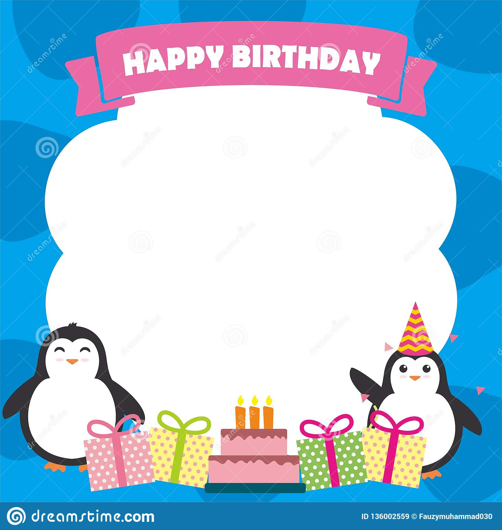 Birthday Card Designs 35 Funny Cute Examples: Birthday Card Design Template With Cute Penguin Character