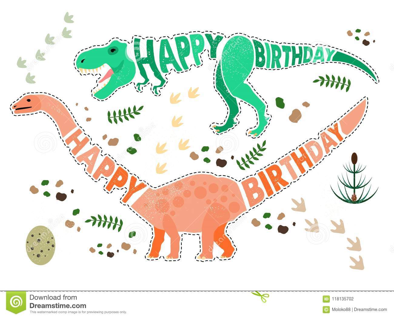 Birthday Card With Dinosaur. Stock Vector - Illustration of invite ...