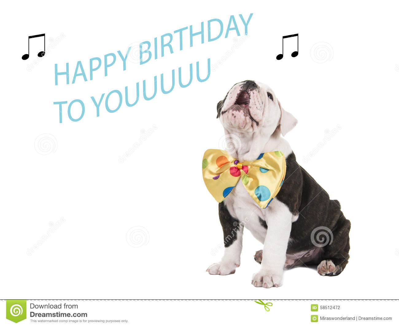 Birthday Card With English Bulldog Singing