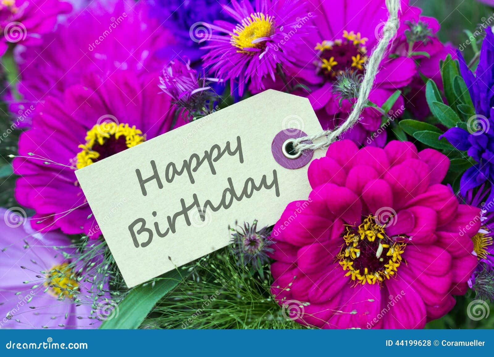 Birthday card stock photo. Image of purple, aster, happy   44199628