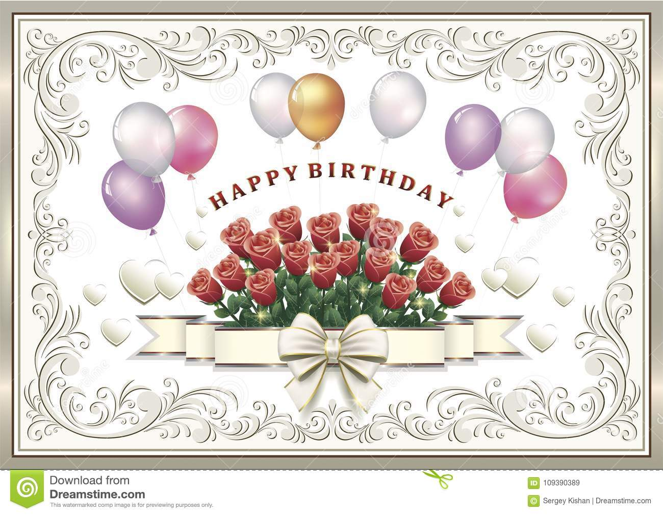 Birthday Card With Flowers And Balloons