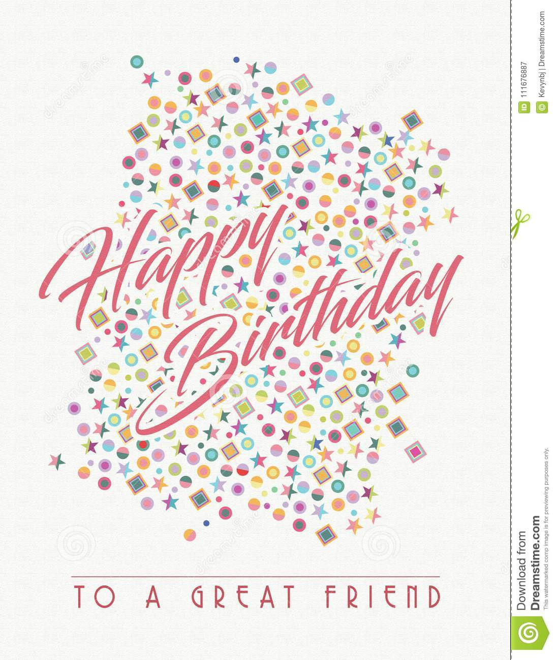 Birthday Card Art For Friend Happy Greeting Vector Colors Pastels Paper Fun Great Friendship Birth Day