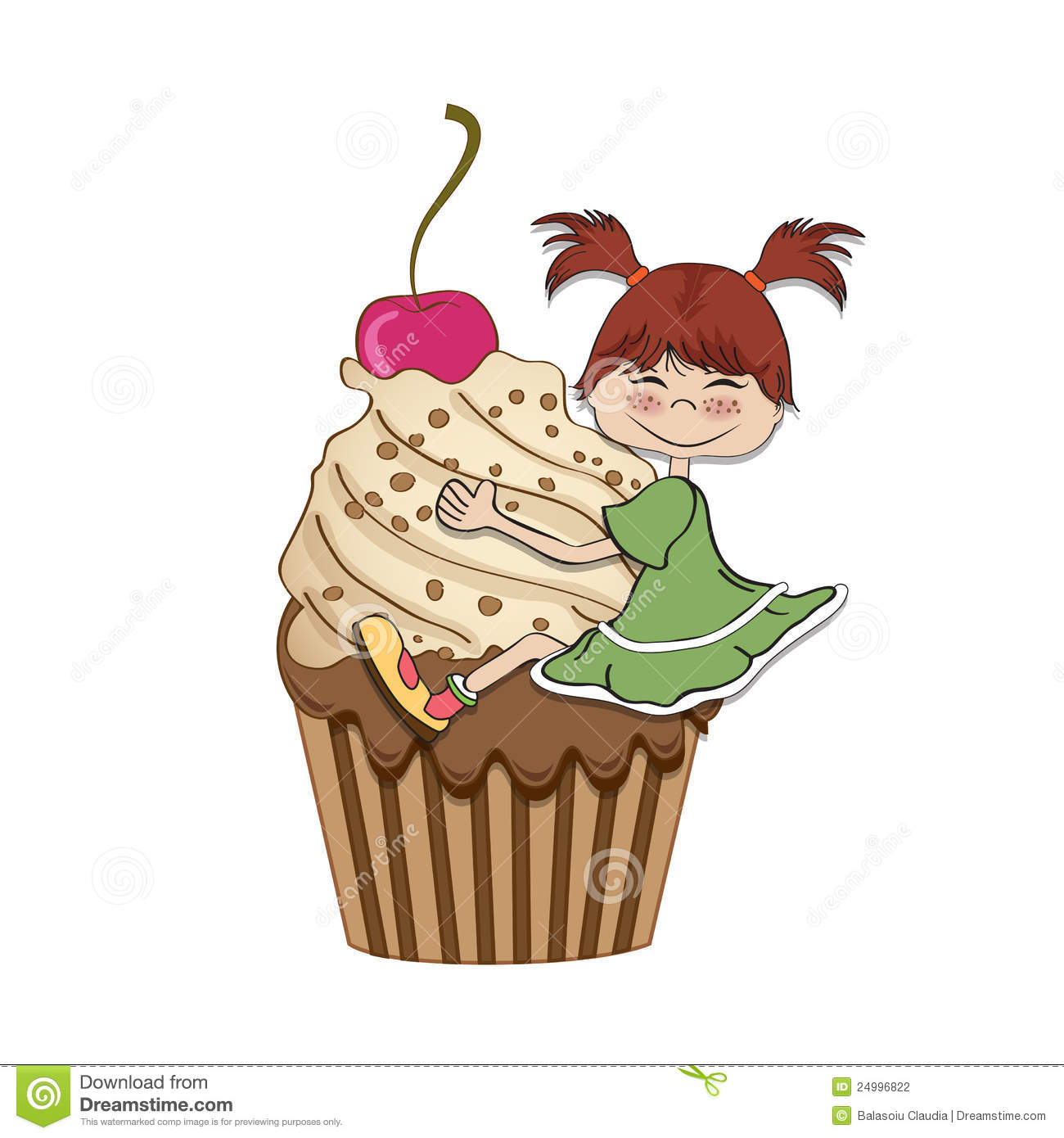 Birthday card with funny girl and cupcake stock image image of birthday card with funny girl stock photography bookmarktalkfo Image collections
