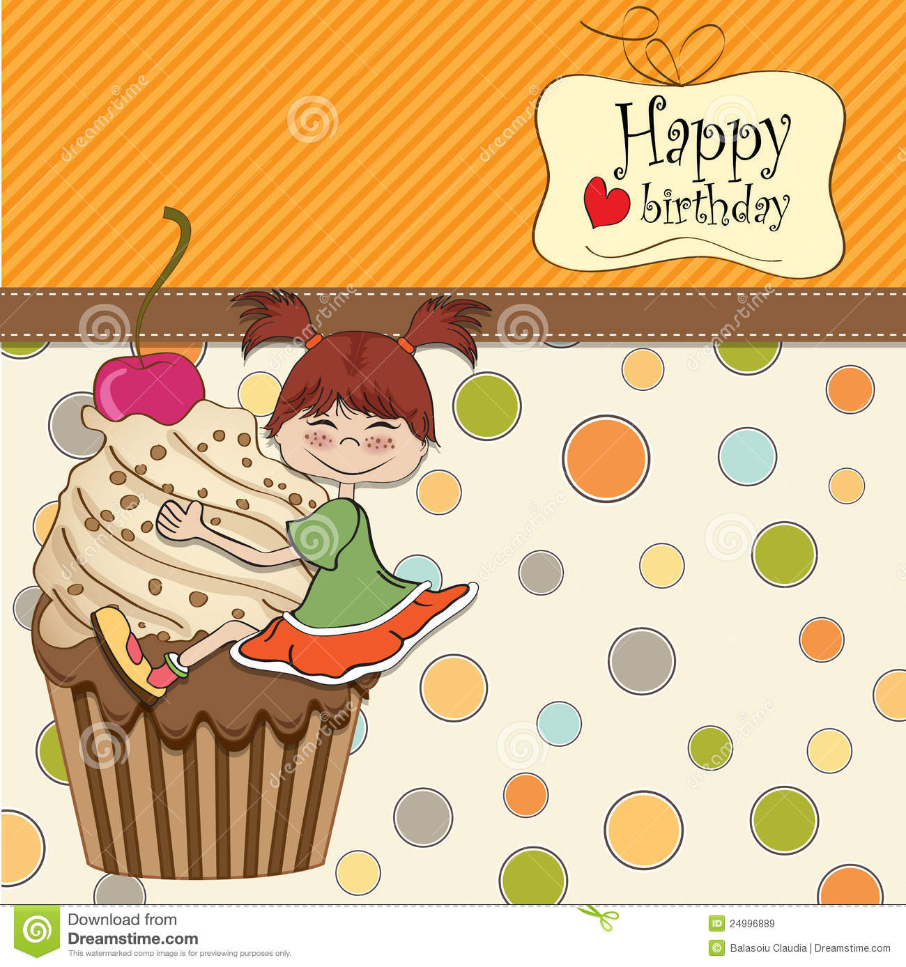 Hedendaags Birthday Card With Funny Girl Stock Illustration - Illustration of LD-96