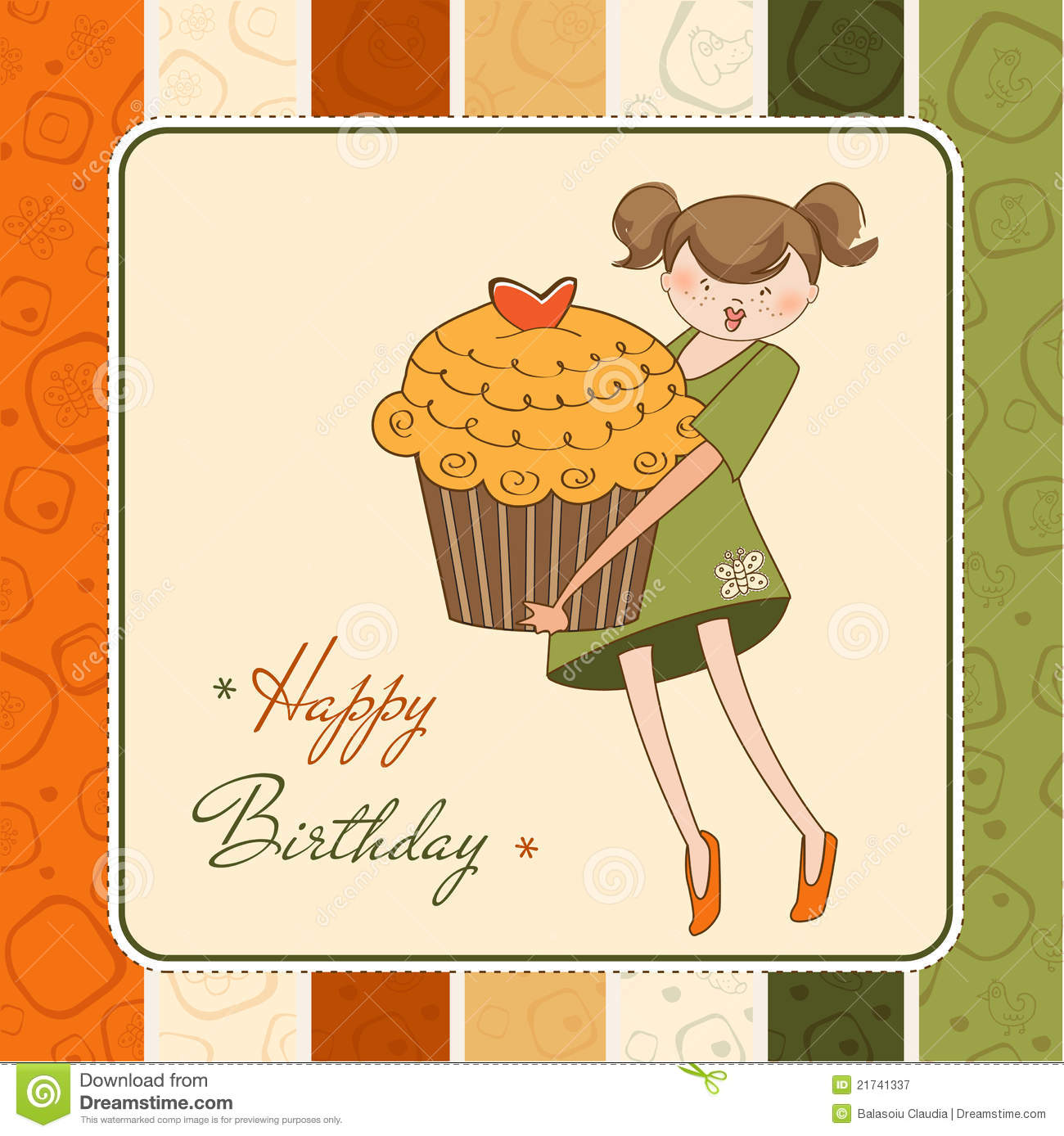 Birthday Card With Funny Girl And Cupcake Stock Illustration