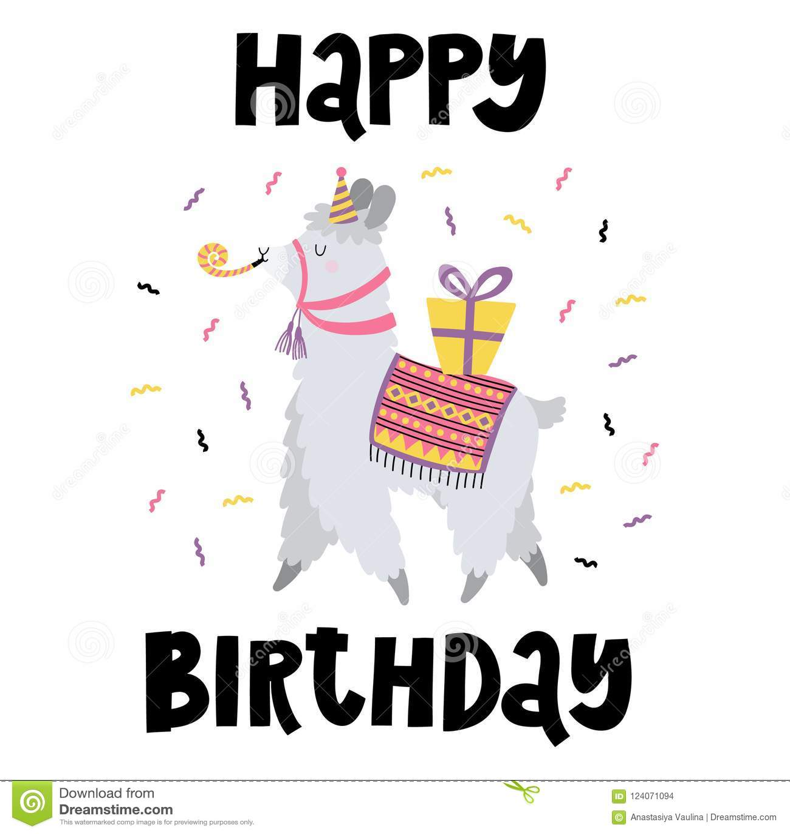 Birthday Card With Funny Lama