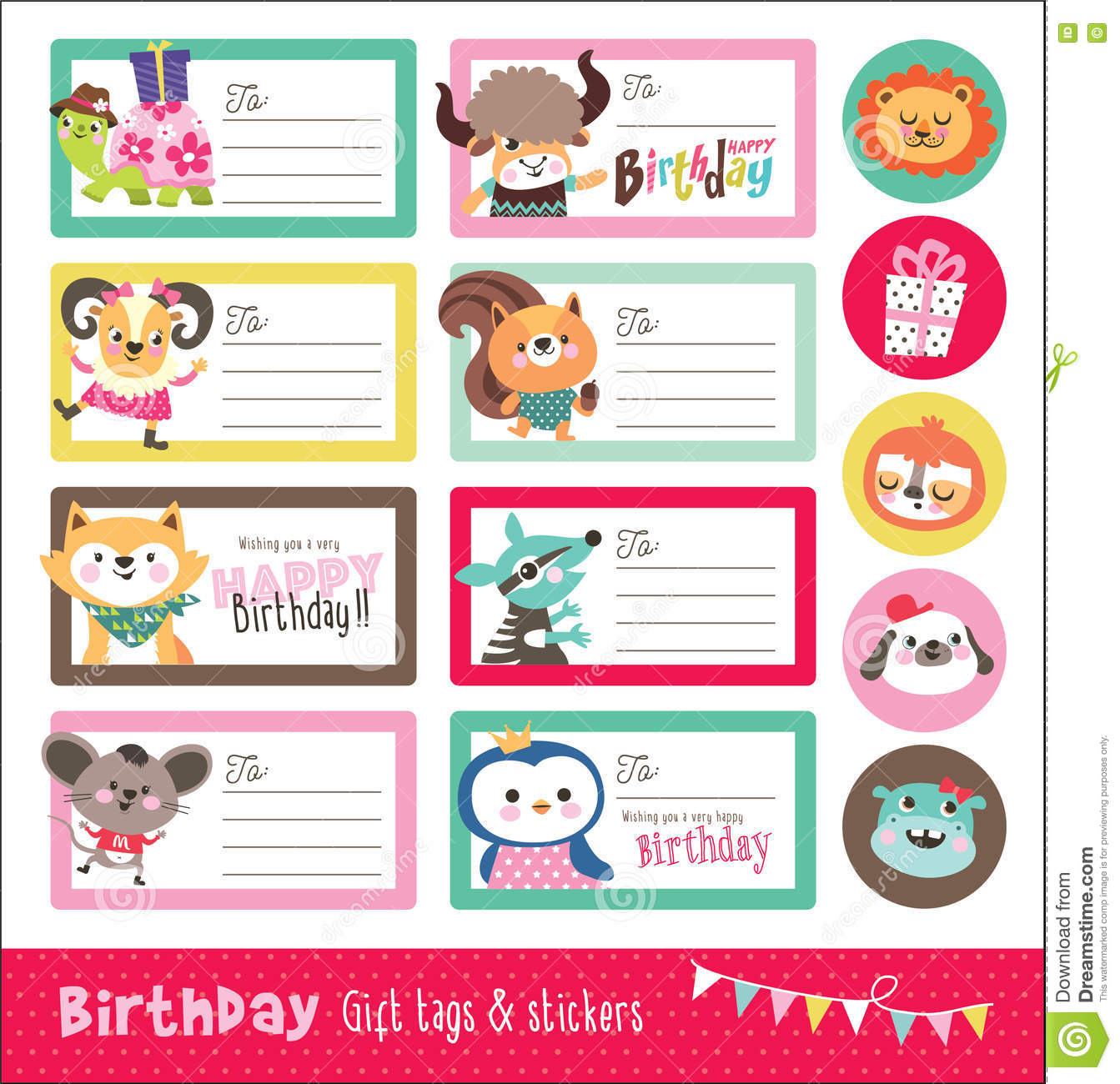 Birthday Card Gift Tags And Sticker