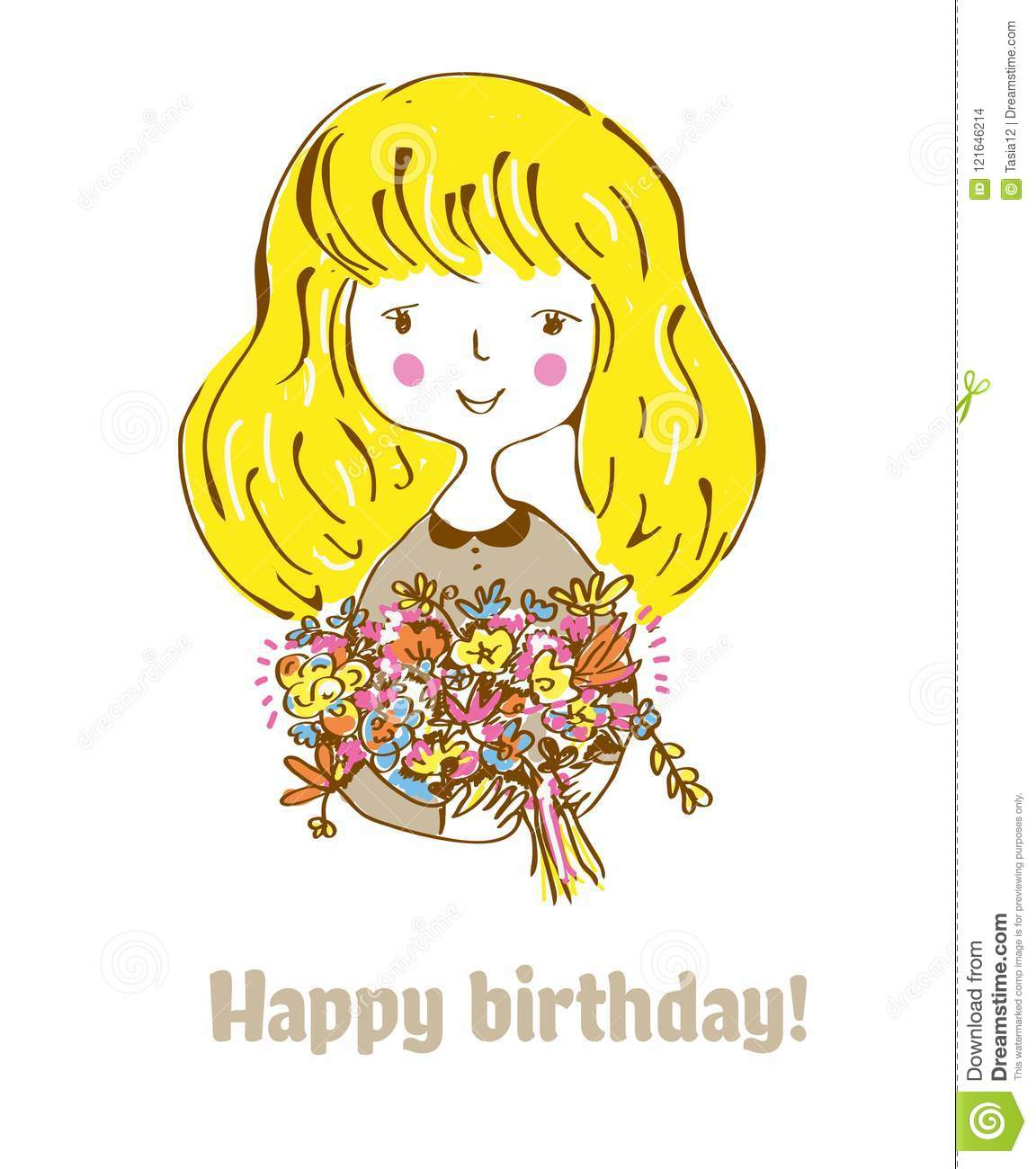 Birthday Card With Girl And Flowers For Child Retro Style Vector