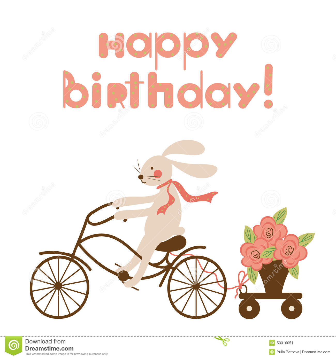 Birthday Card With A Hare On Bicycle And Flowers