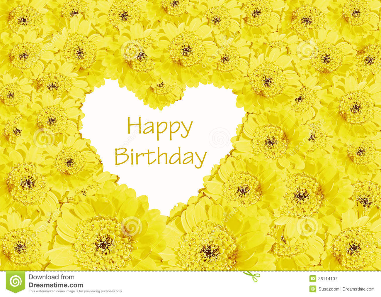 Birthday Card Heart Of Yellow Gerberas Flowers Stock Image Image