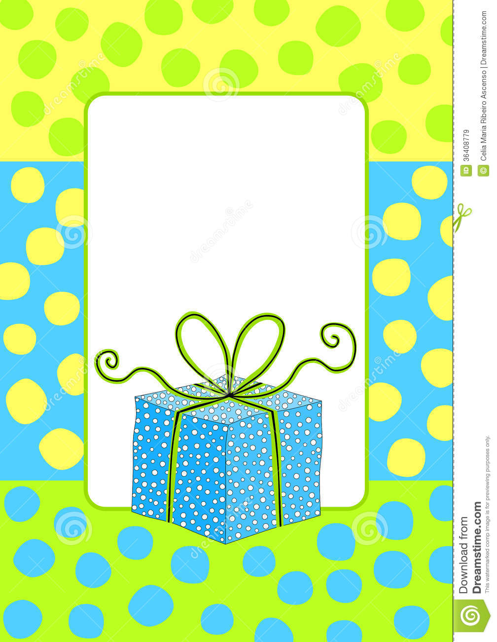 Birthday Card Invitation With A Gift Box