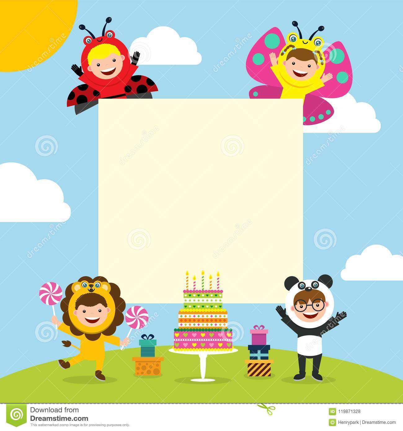 Swell Birthday Card With Kids In Animal Costume Stock Vector Funny Birthday Cards Online Fluifree Goldxyz