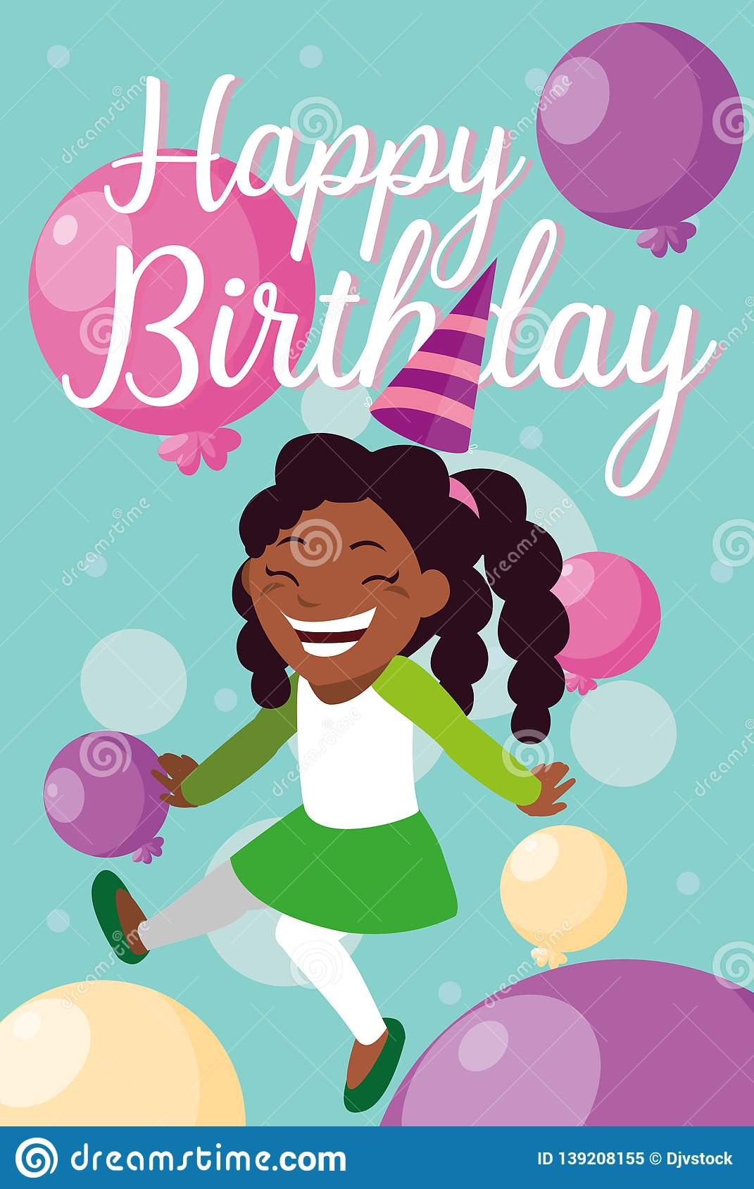 Birthday Card With Little Black Girl Celebrating
