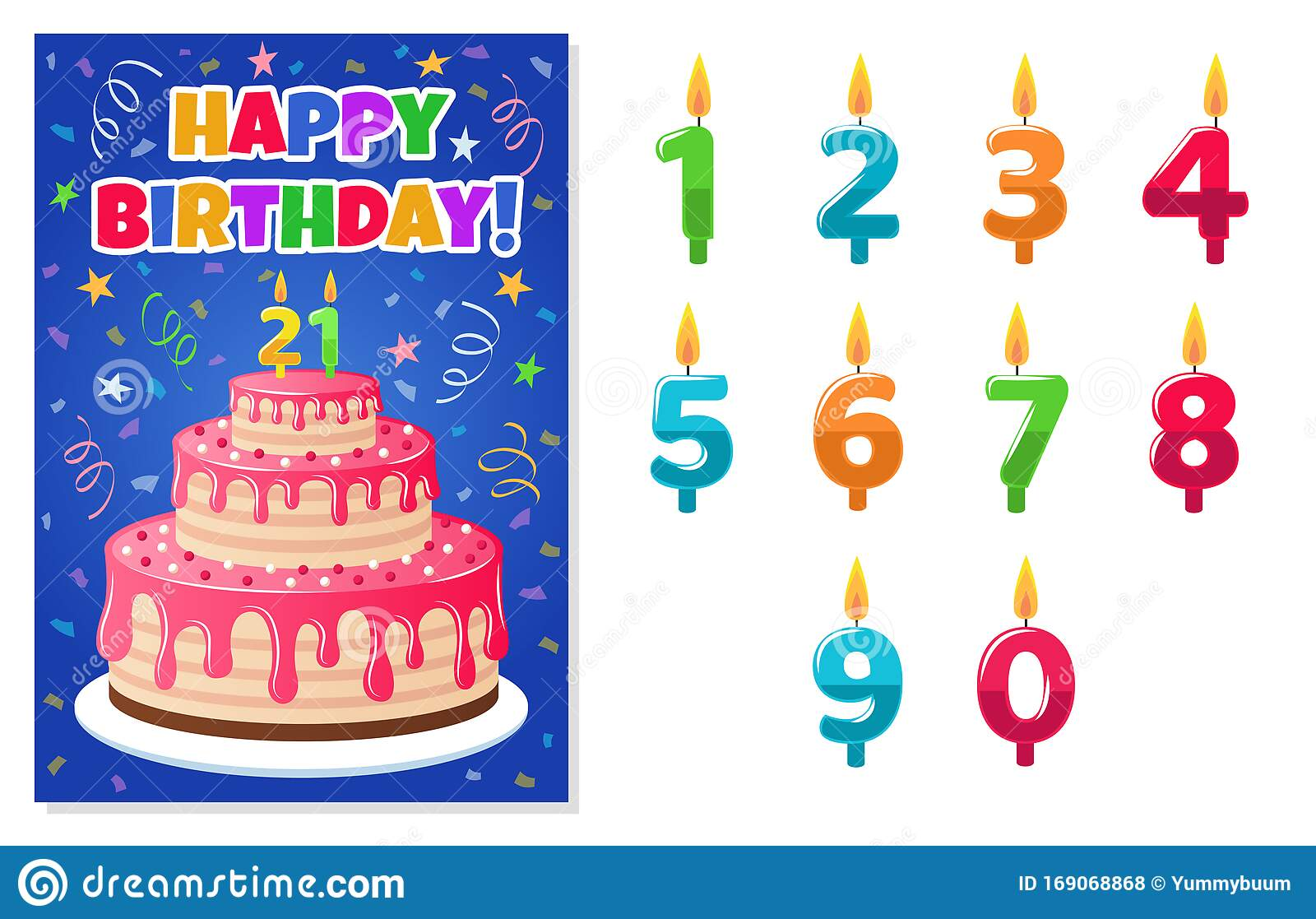 Birthday Card With Numbers Candles Anniversary Invitation Colorful Celebration Cake With Candle Kids Party Greeting Stock Vector Illustration Of Colorful Invitation 169068868
