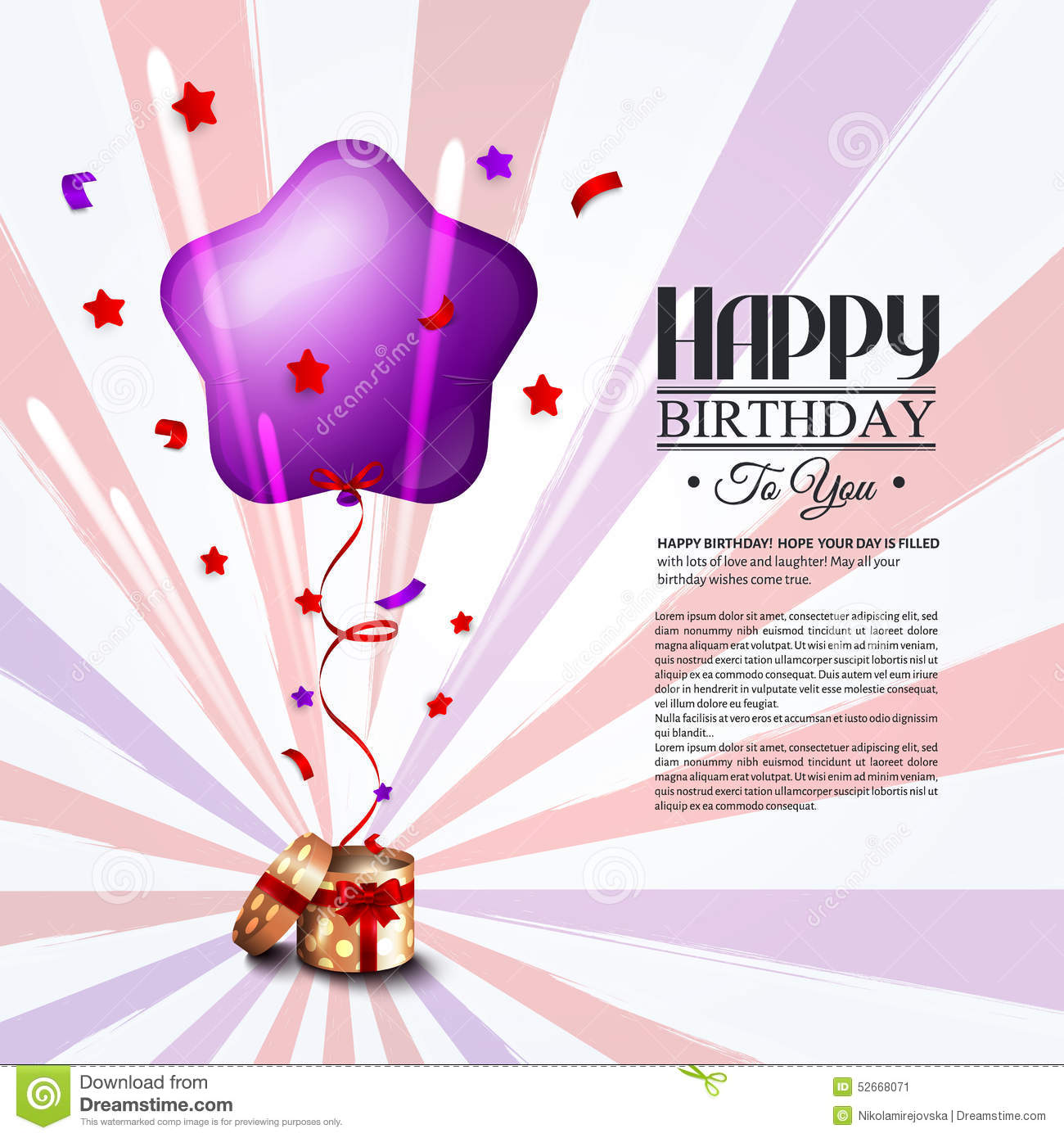 Birthday Card With Open Gift Box, Balloons And Stock