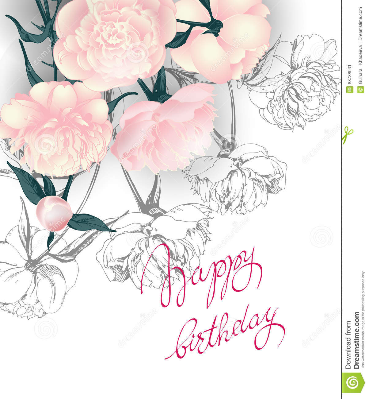 Birthday Card With Peonies. Wedding Invitation Card Use For Boarding ...