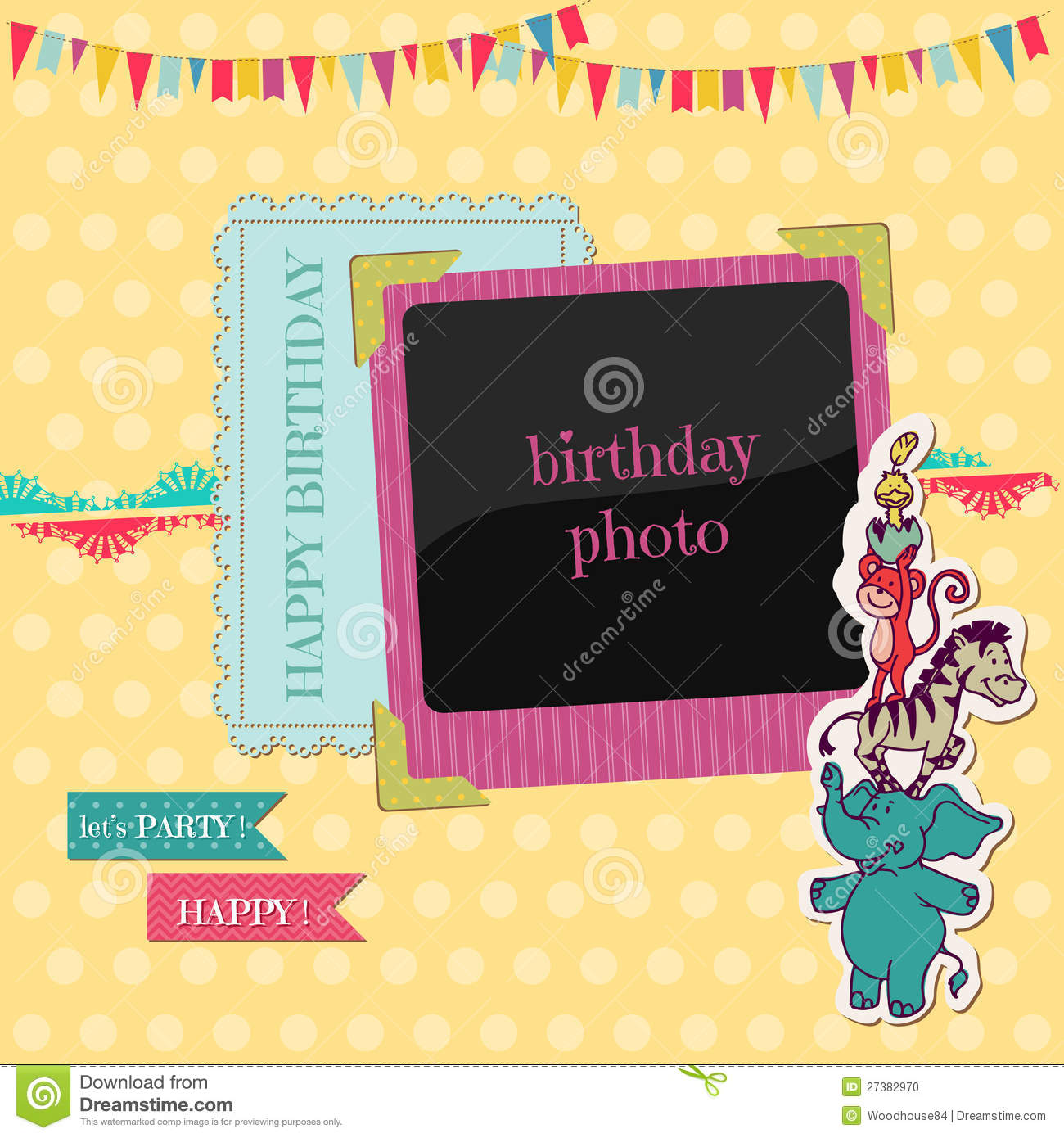 Birthday Card With Photo Frame Stock Vector - Illustration ...