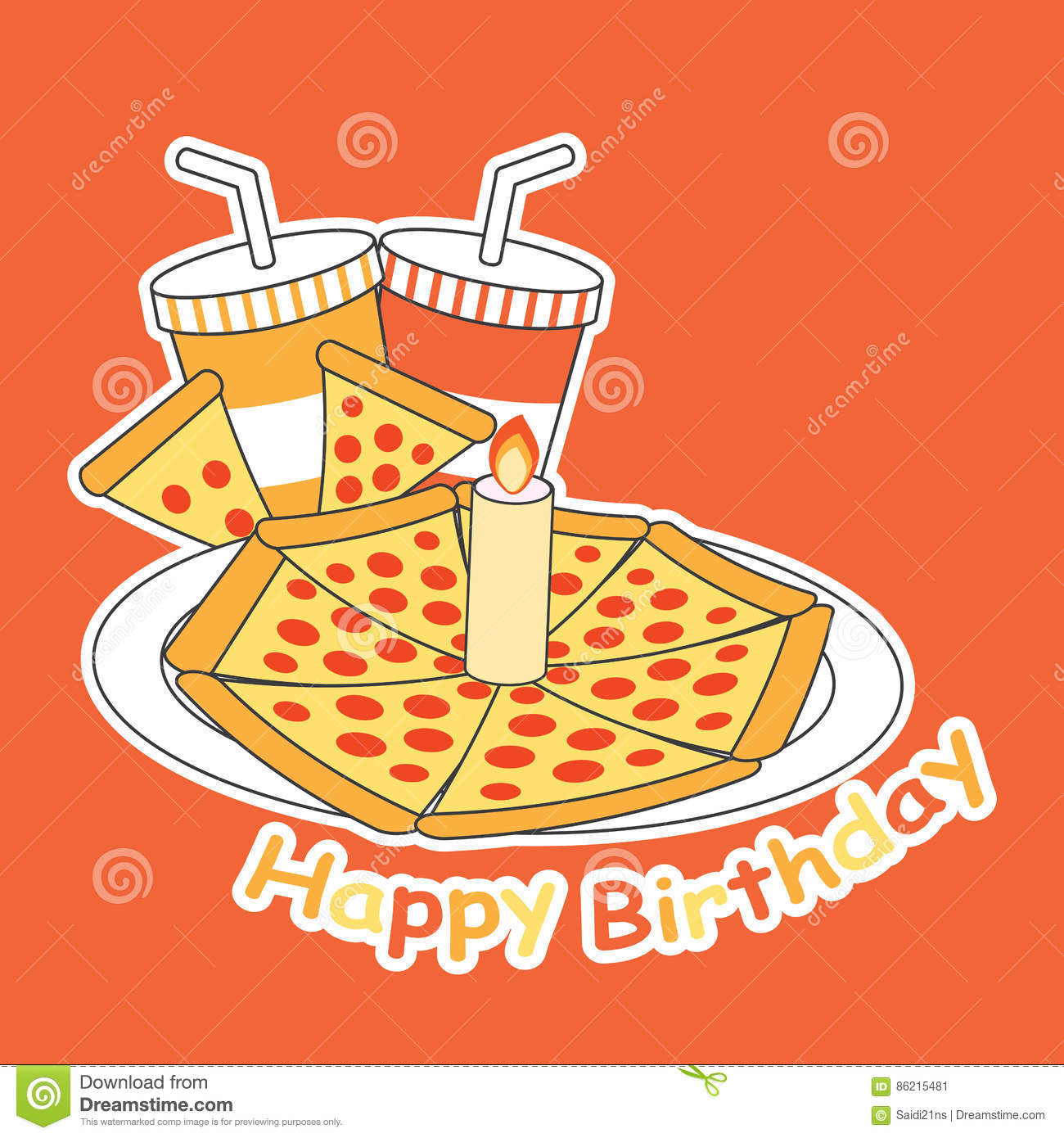 Birthday Card With Pizza On The Plate And Soft Drinks