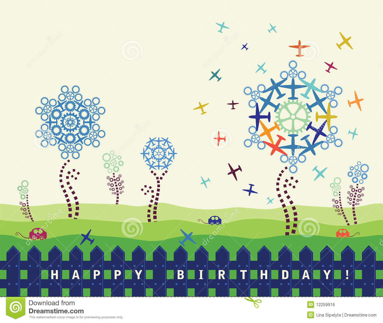 Download Birthday Card With Planes And Cogs Stock Vector - Illustration of gearwheels, flower: 12259916