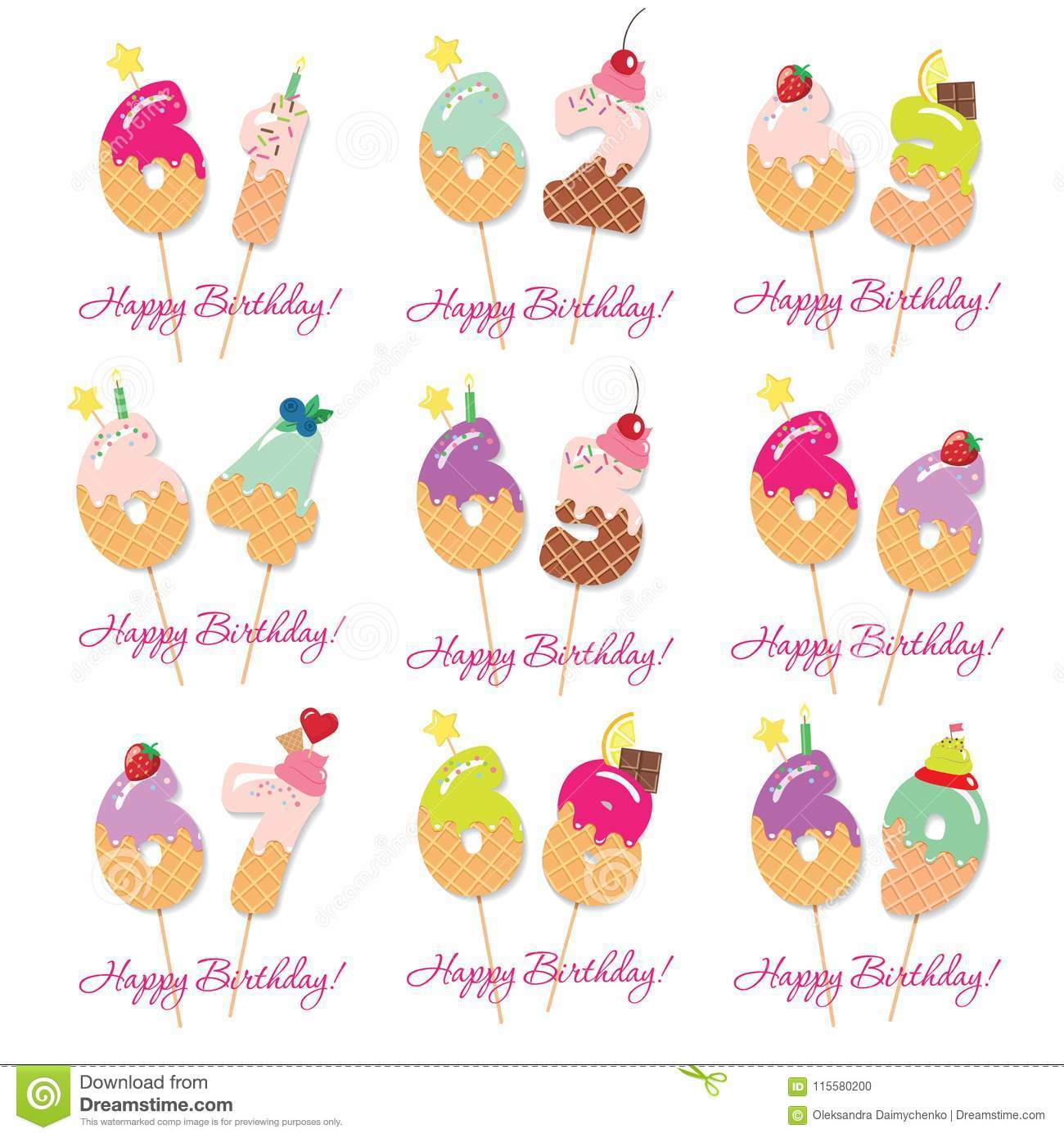 Birthday Card Set Festive Sweet Numbers From 61 To 69 Coctail Straws Funny