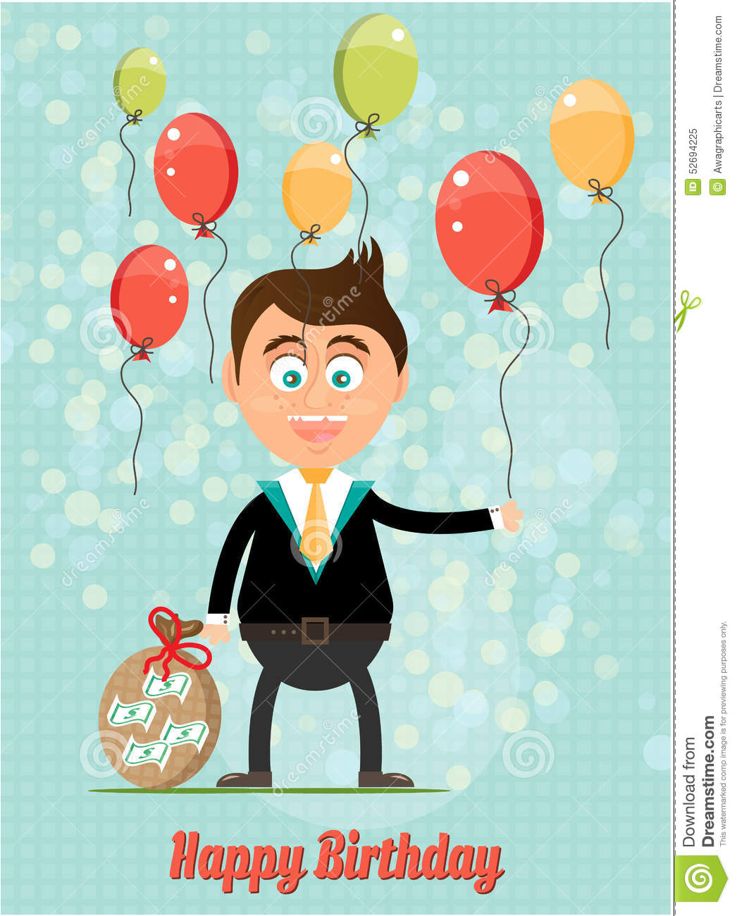 Birthday Card With Smiling Man Money Colorful Flying Balloons Text Happy Blue Background Pattern And Lights