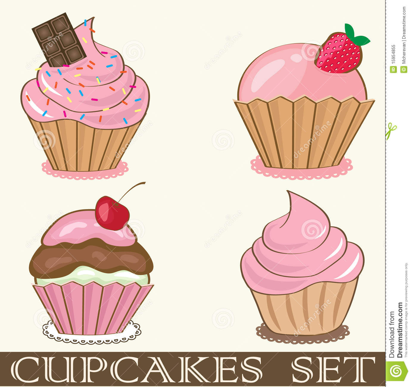 birthday card with strawberry cupcake. royalty free stock photo, Birthday card