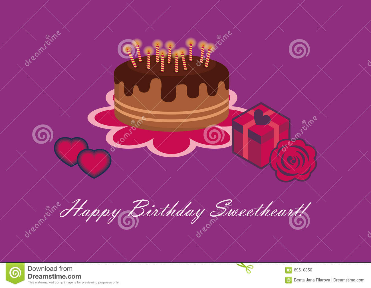 Birthday Card For Sweetheart Stock Vector Illustration Of Pink