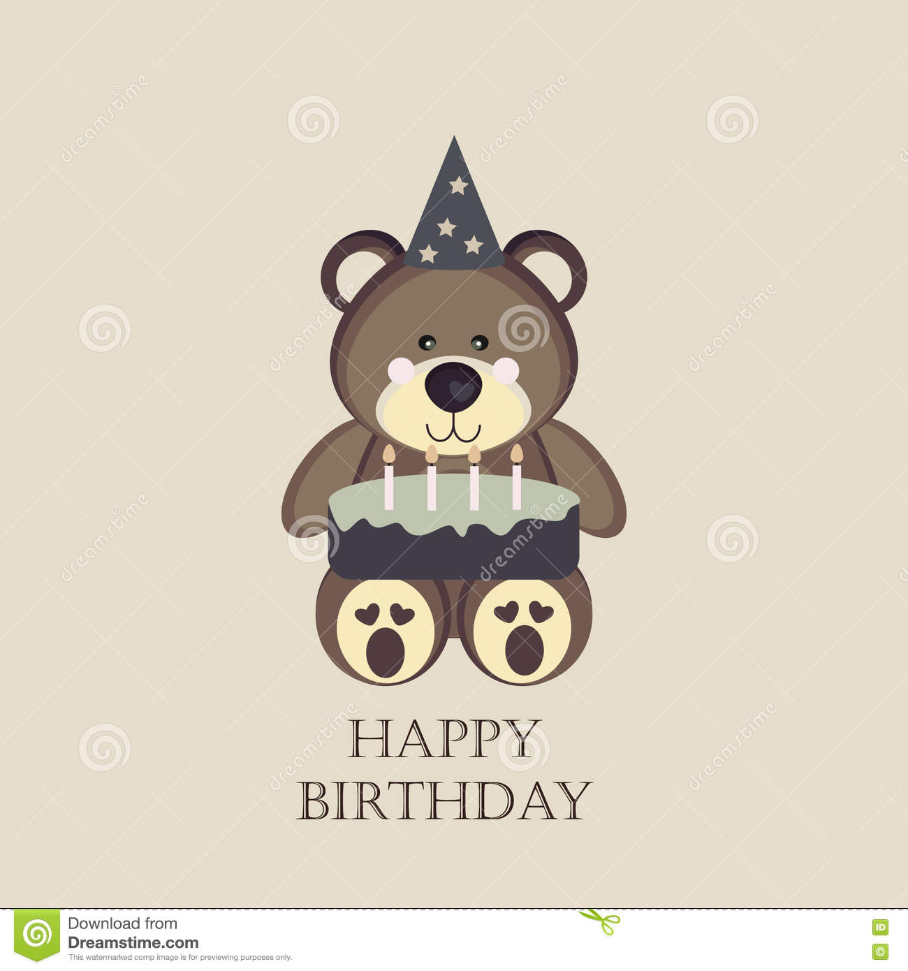 Birthday Card With Teddy Bear Stock Illustration
