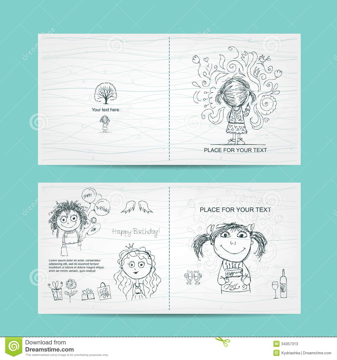 Birthday Card Template With Cute Girls, Sketch For  Birthday Cards Format
