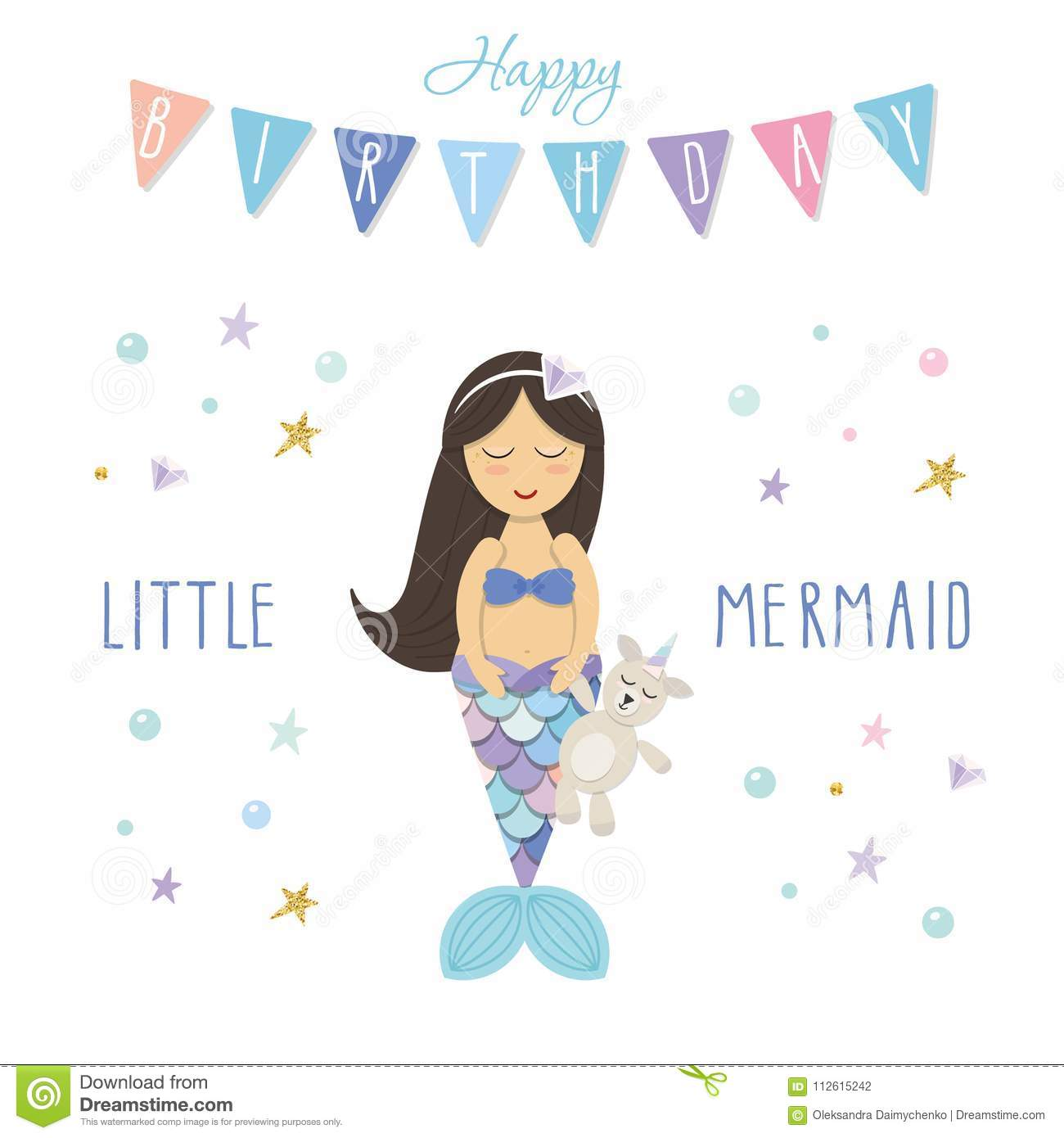birthday card template little mermaid with unicorn toy cute