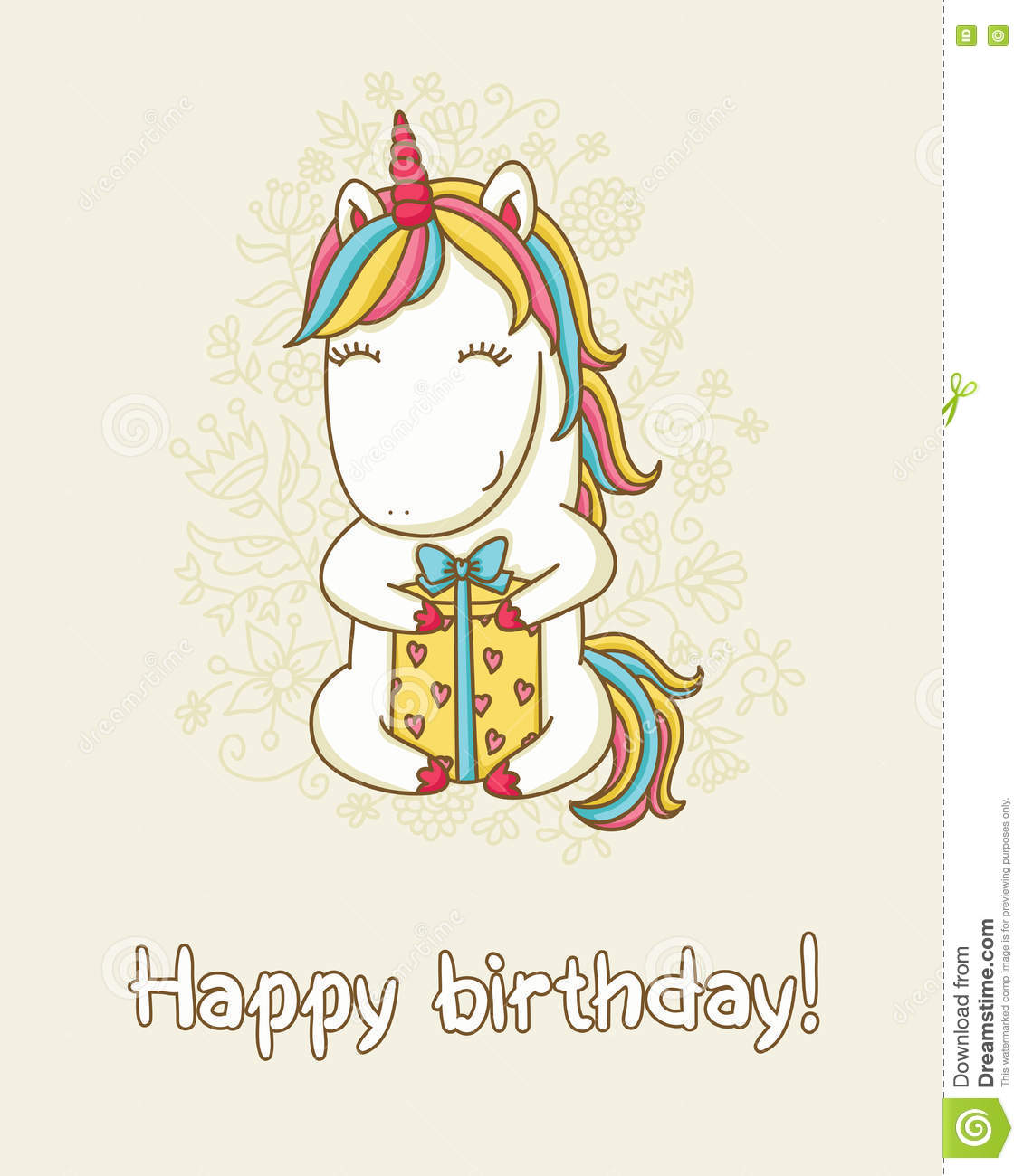 birthday card with unicorn stock vector  image, Birthday card